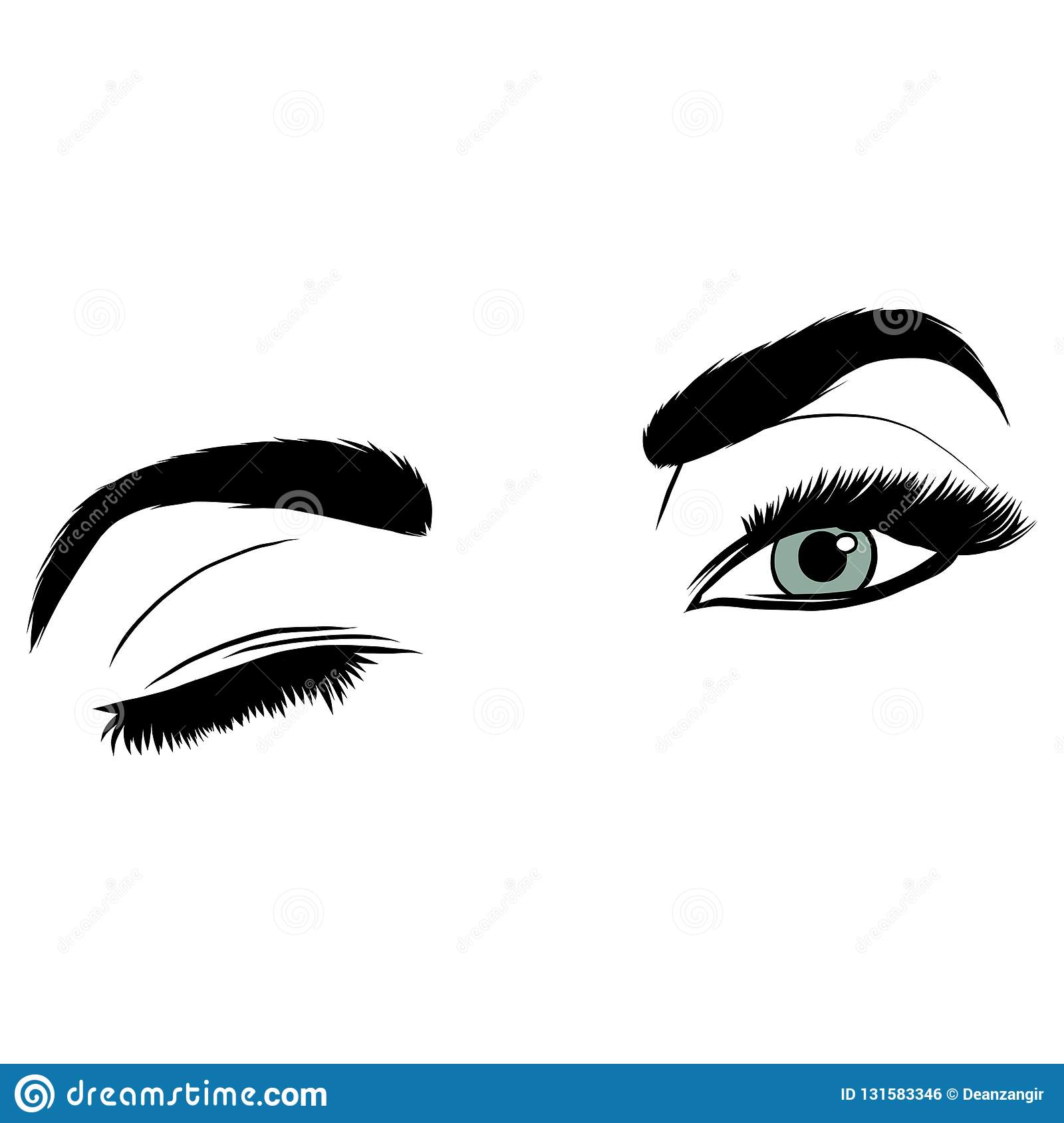 c690af09cdb Illustration with woman s eye wink, eyebrows and eyelashes. Makeup Look.  Tattoo design. Logo for brow bar or lash salon.