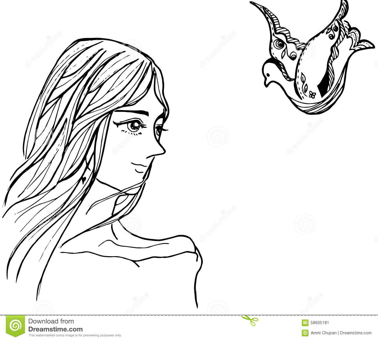 Line Art Design Illustration : Illustration of women and bird line art drawing black