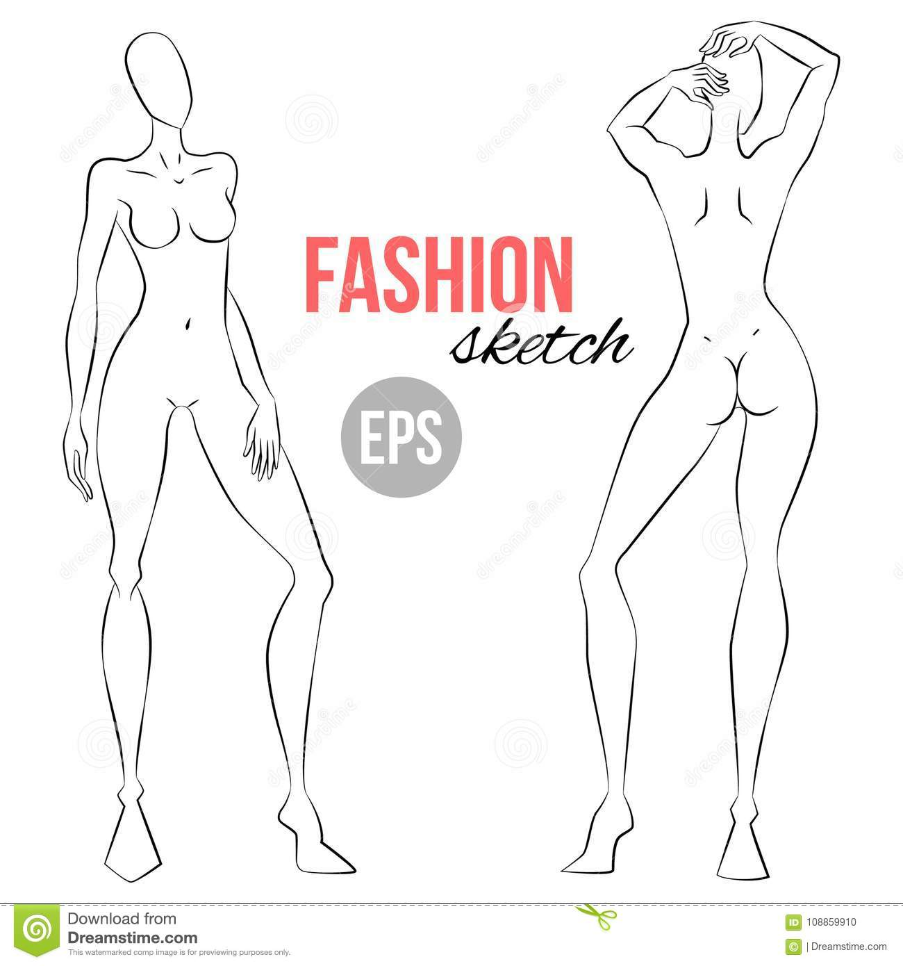 Design fashion template front and back catalog photo
