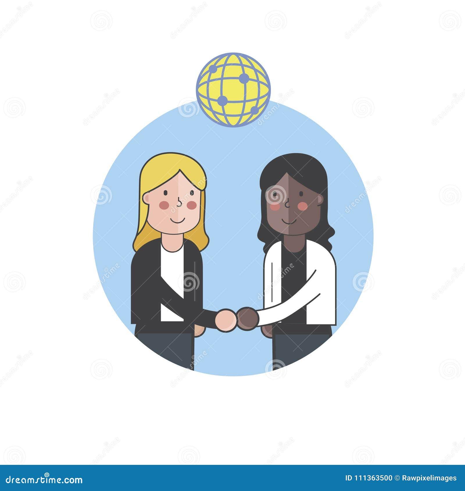 Avatar 3 2021: Two Women Shaking Hands Stock Illustrations