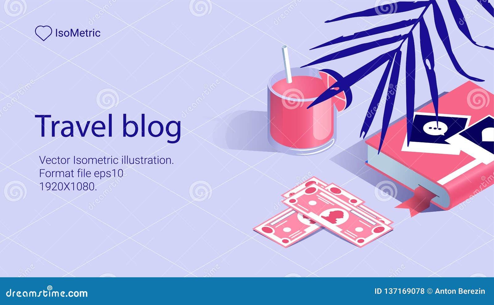 Illustration work tabel, Travel bloger, banners set