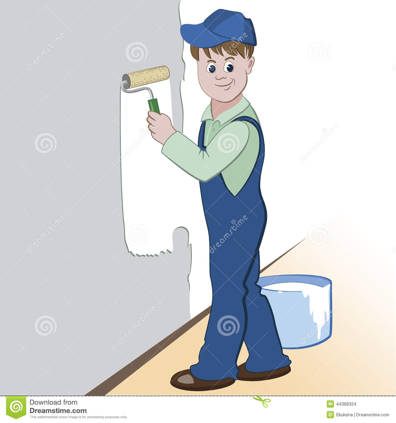 illustration of worker with roller and paint painting the wall design illustration paint painting roller
