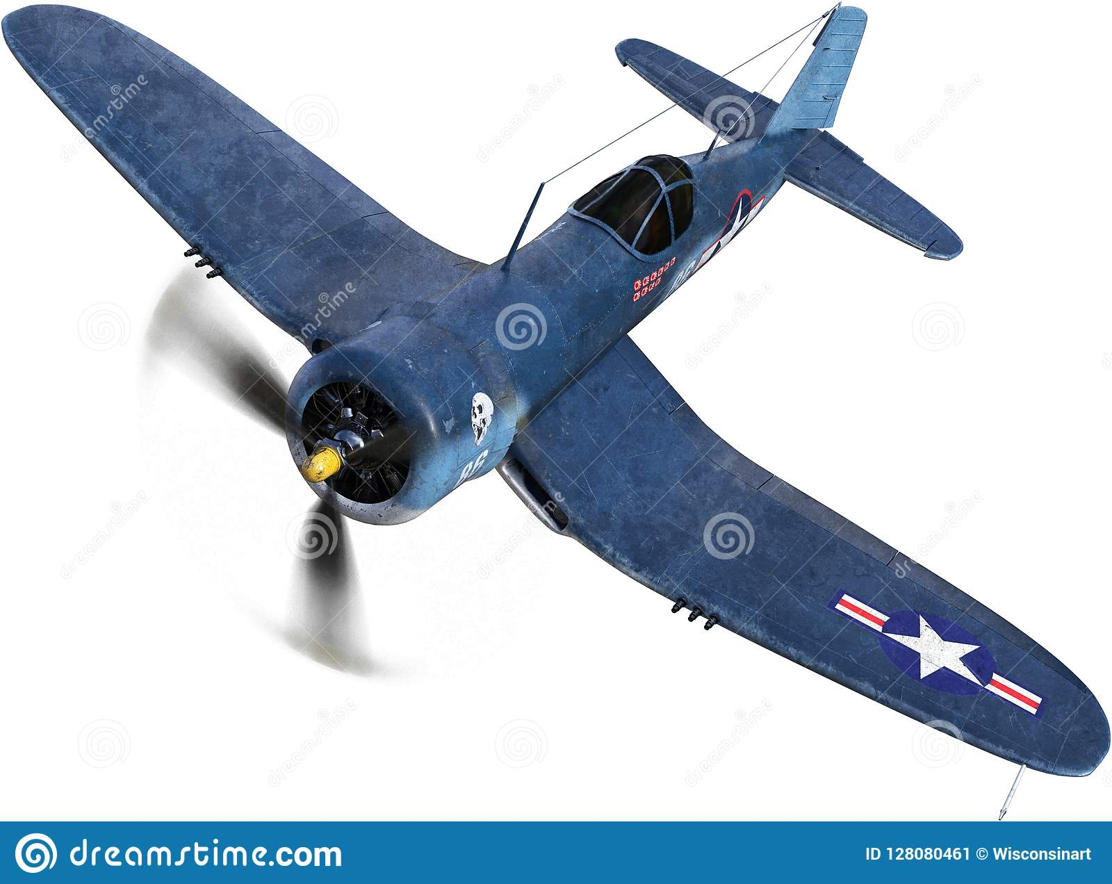 WWII Fighter Plane, War, Isolated Stock Image - Image of