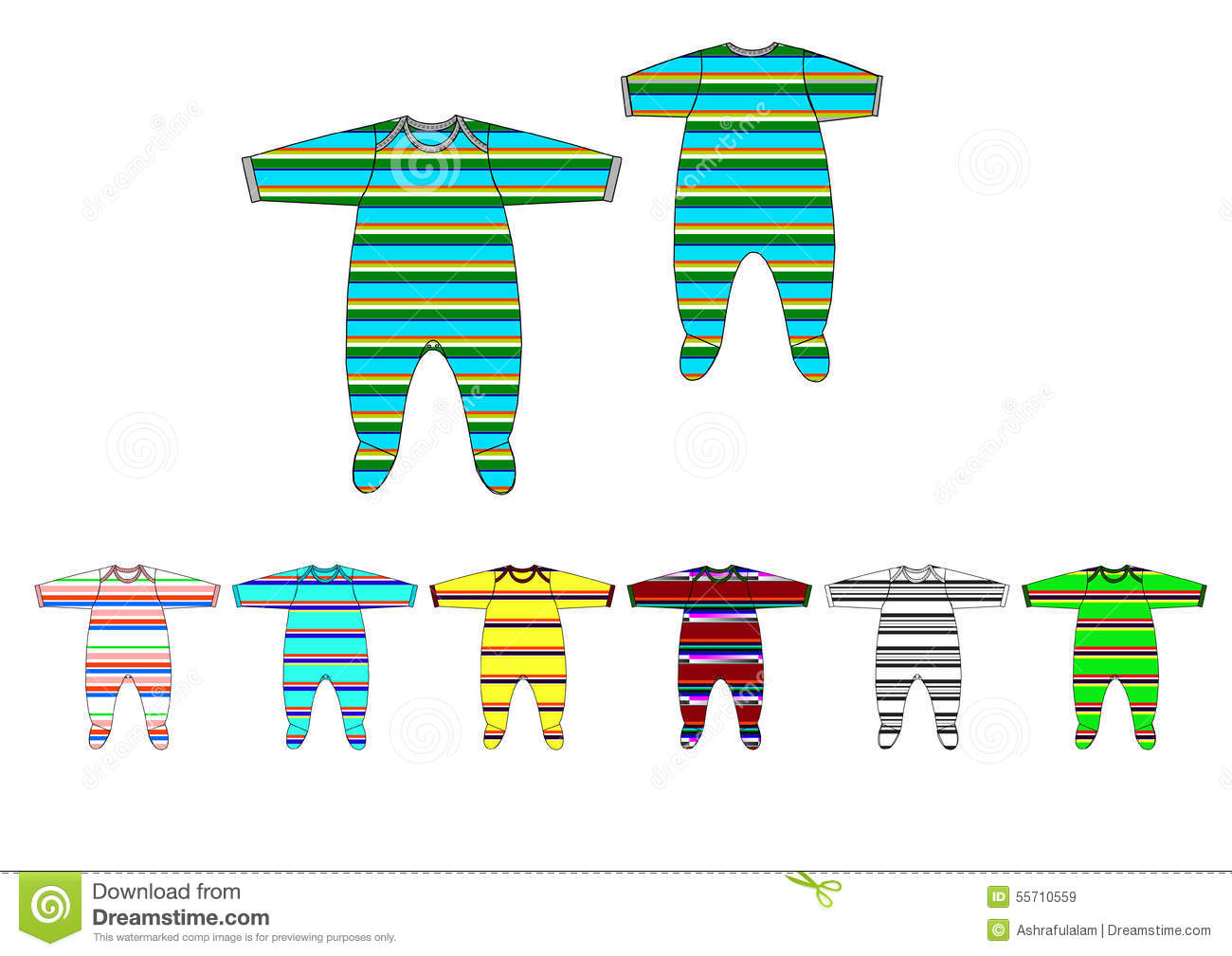 20726ceff Illustration of yarn dye stripe jersey fabric baby boy romper design  template stock illustration