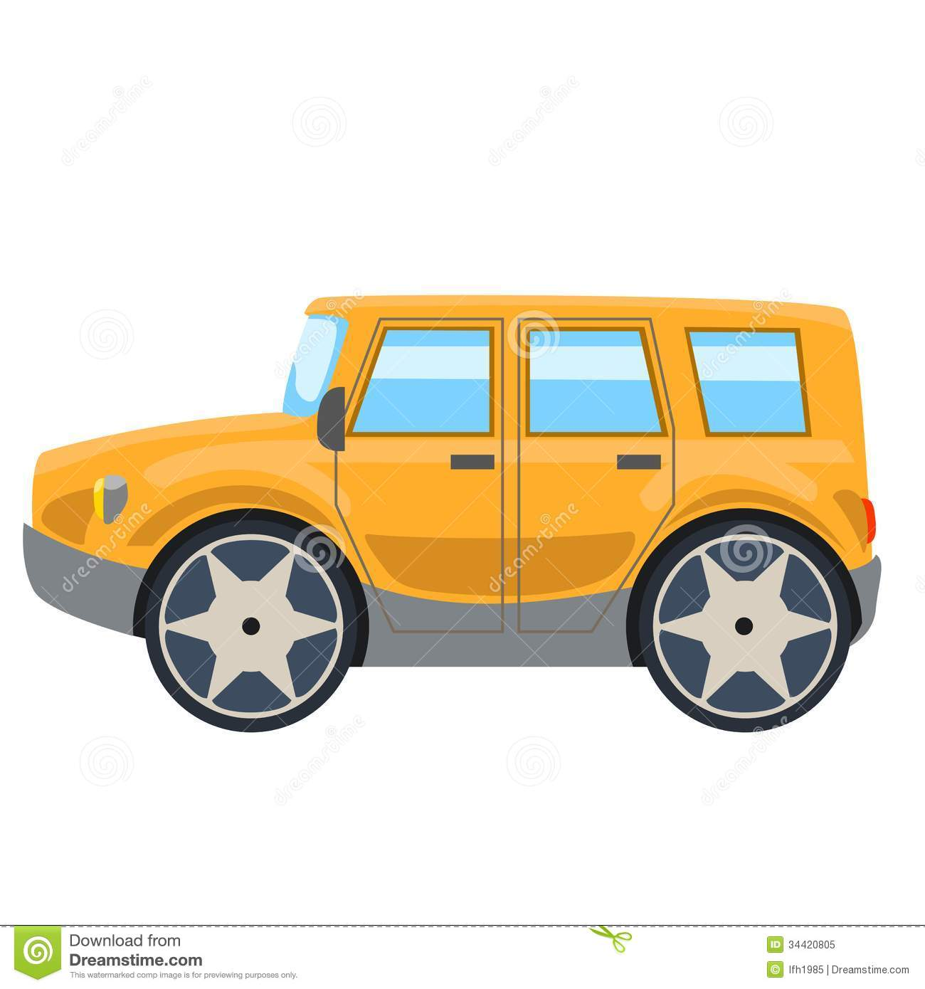 Illustration Of Yellow Off Road Car Side Royalty Free Stock Photo