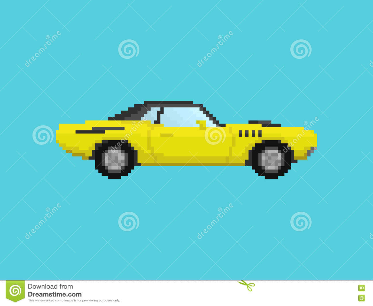 Illustration Of Yellow Sport Car In Pixel Art Style Stock