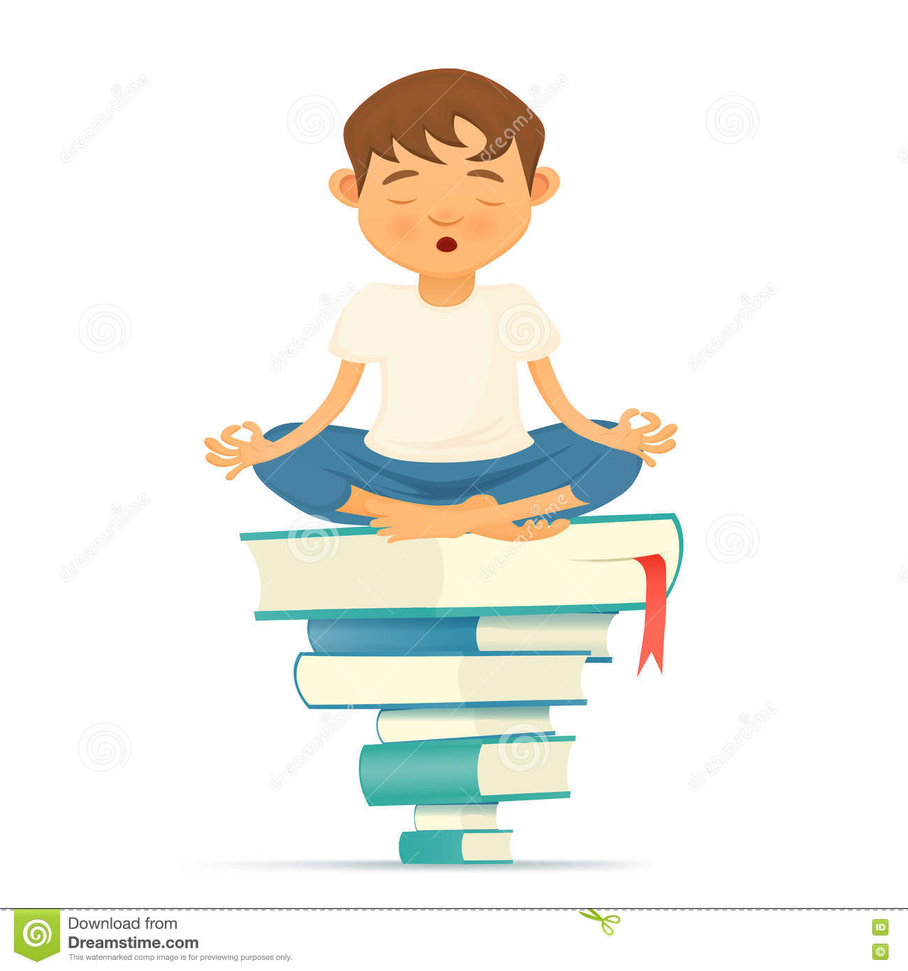 Illustration With Yong Yoga Meditation Boy Siting On Books Stock