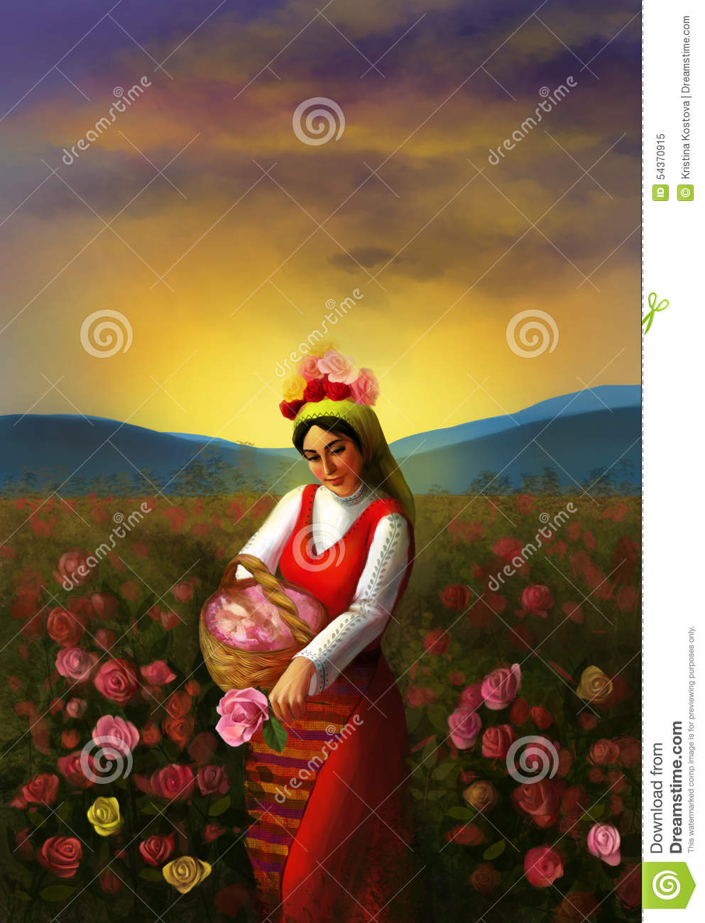 Illustration of a young Bulgarian girl wearing traditional clothing and piking up roses