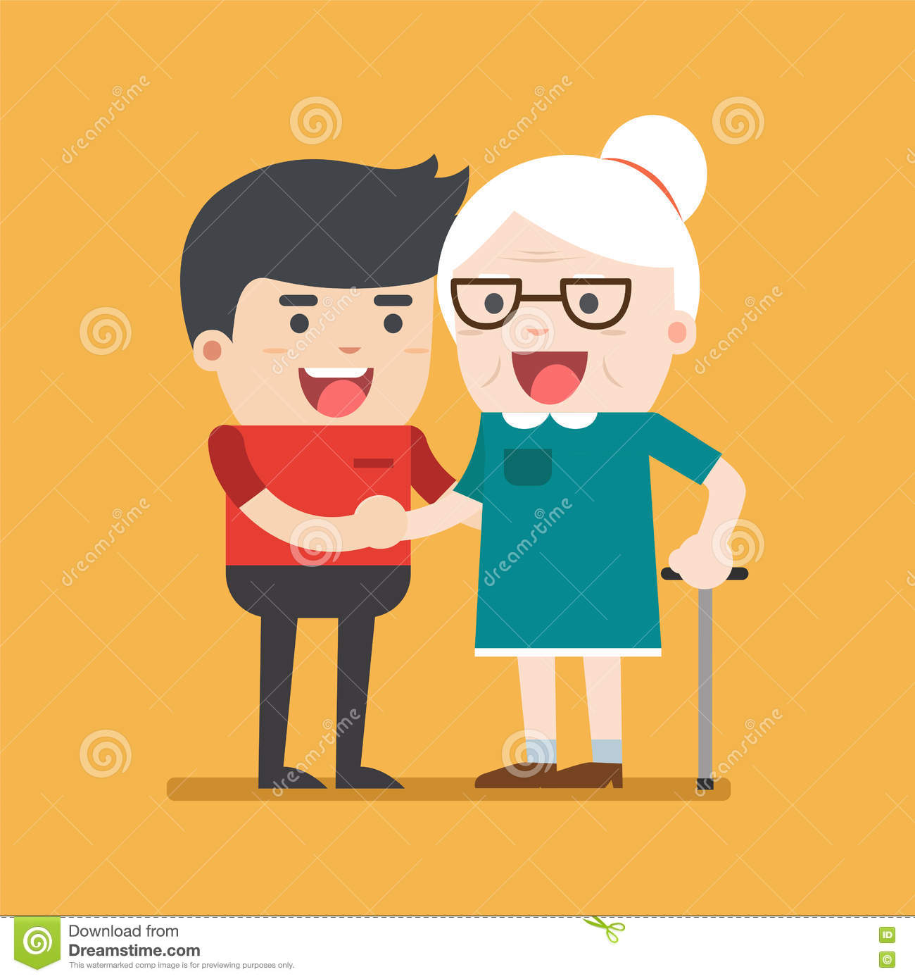 Illustration of young volunteer man caring for elderly woman.