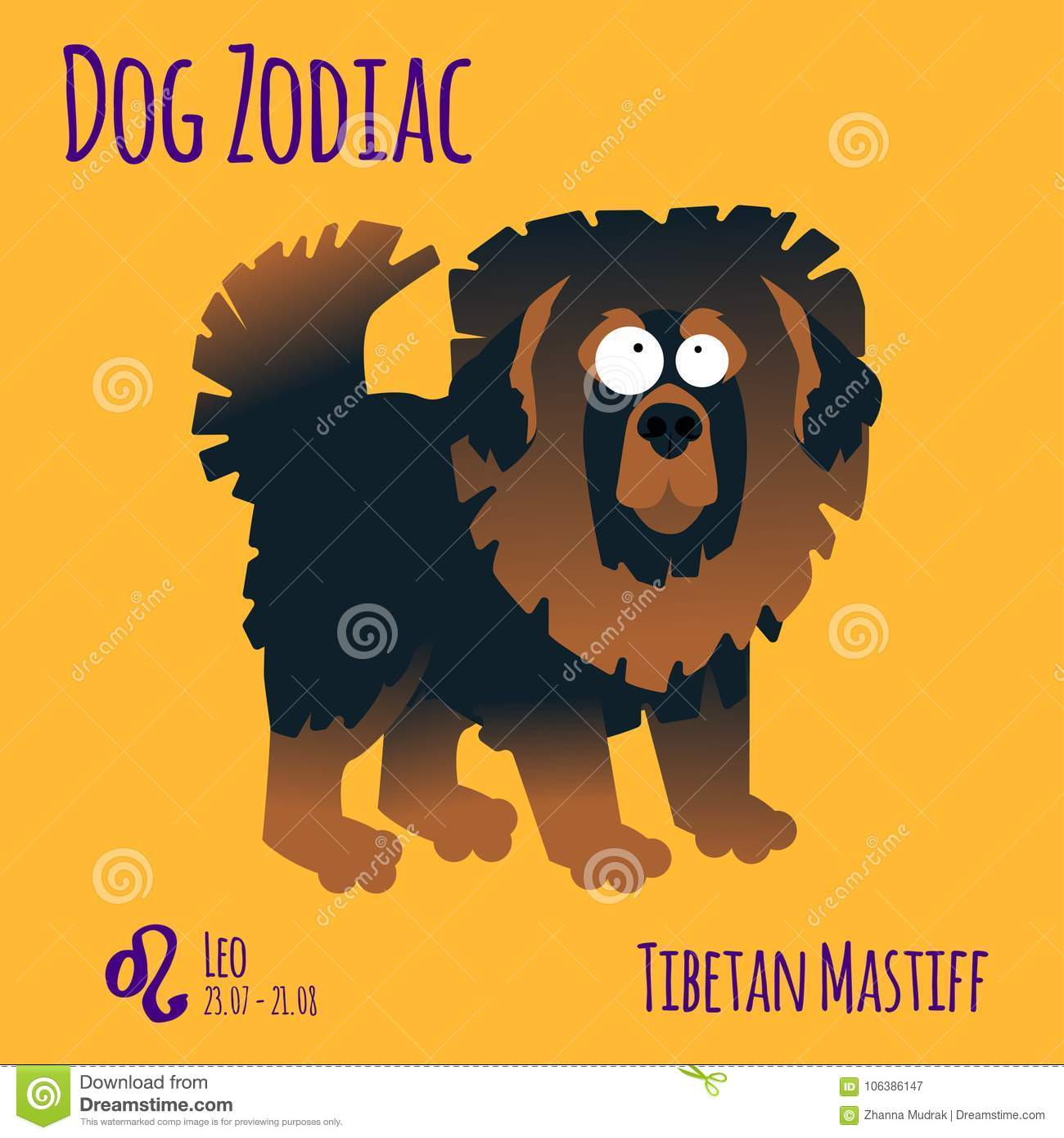 Illustration Of A Zodiac Sign With A Funny Dog  Tibetan