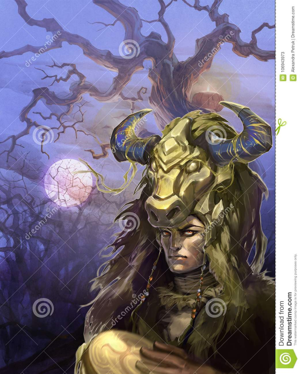 Illustration Of A Zodiac Sign Taurus As A Handsome Shaman With A