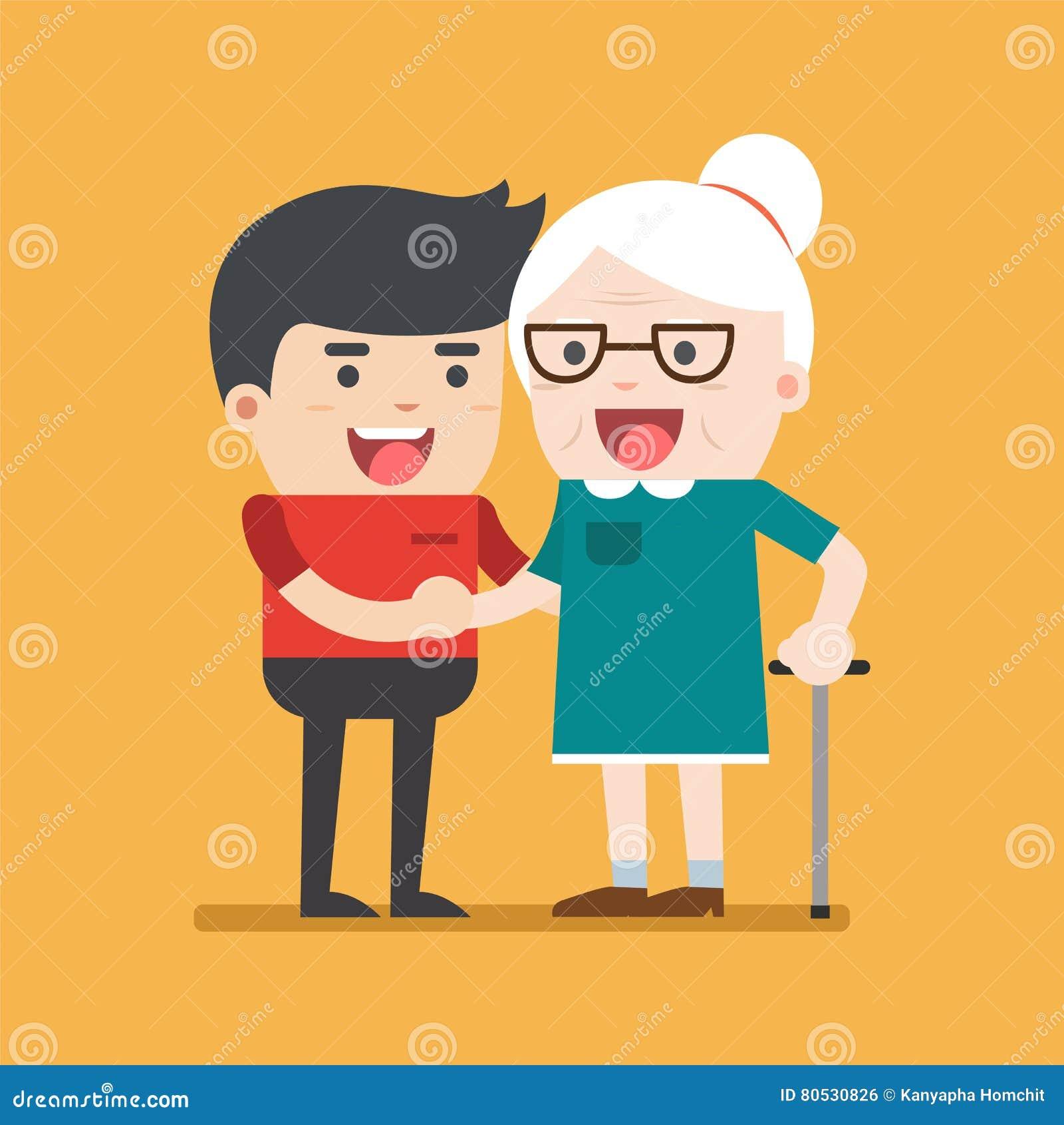 Illustrationen av barn ställa upp som frivillig mannen som att bry sig för äldre kvinna
