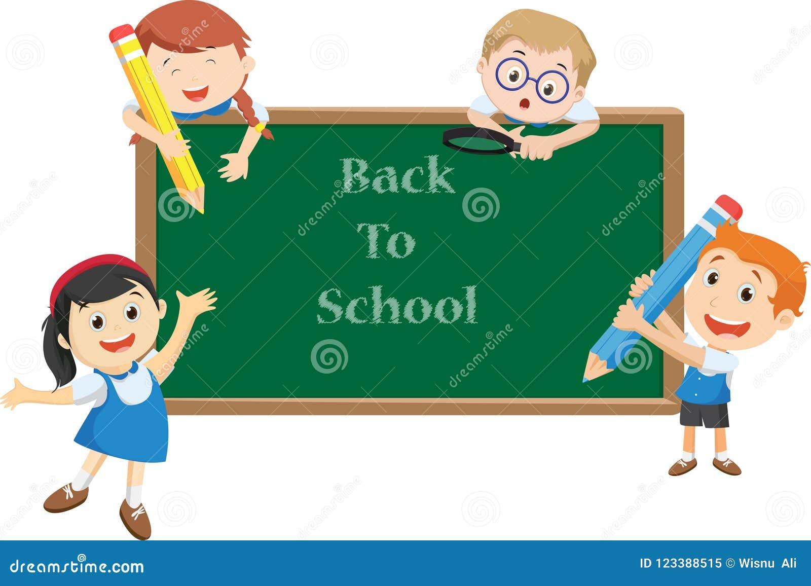 Illustrationen av den lyckliga skolan lurar tecknade filmen tillbaka begreppsskola till