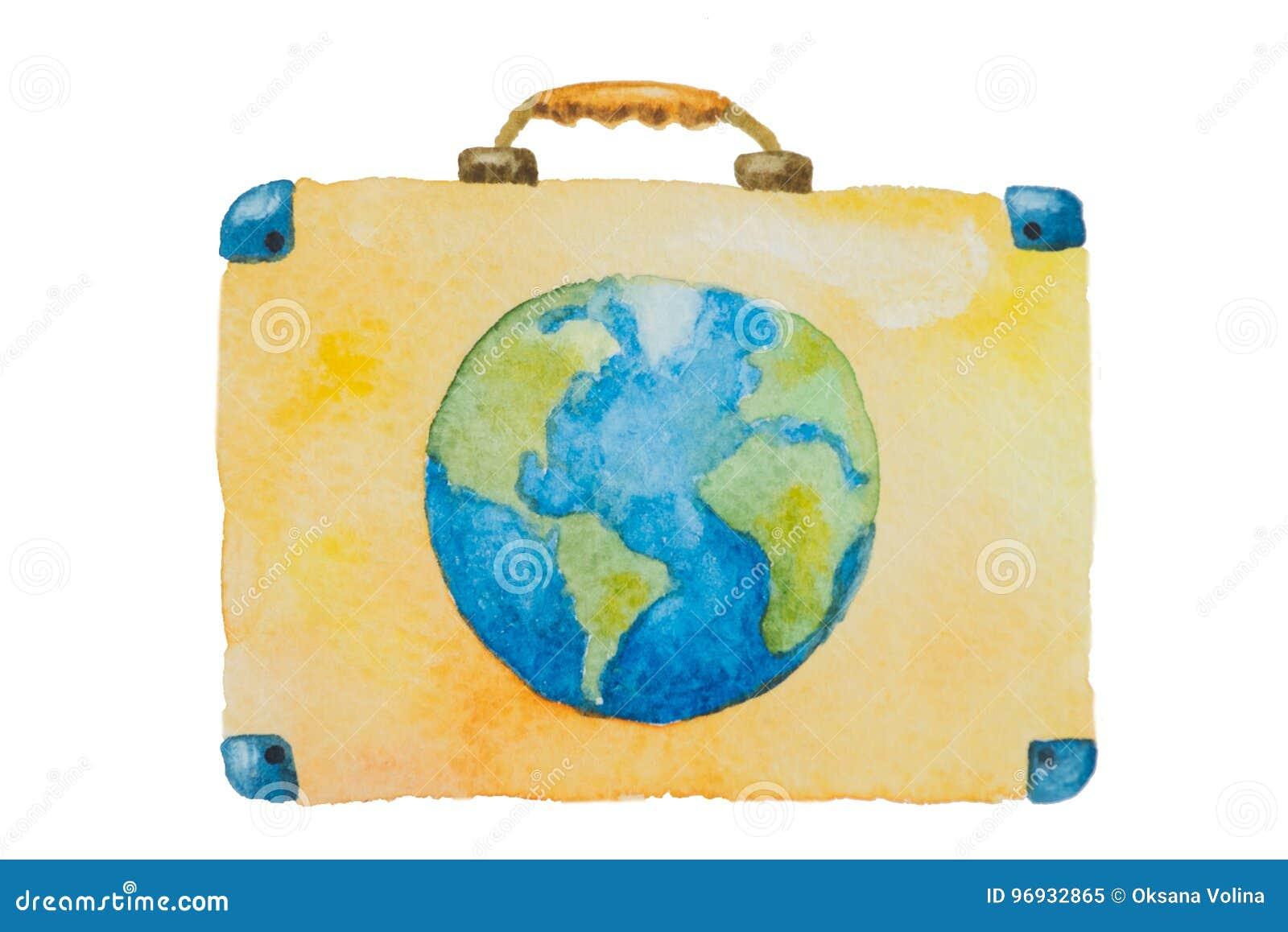 Illustrationen av en resväska med blå planetjord för lopp på en vit bakgrund målade vattenfärgen