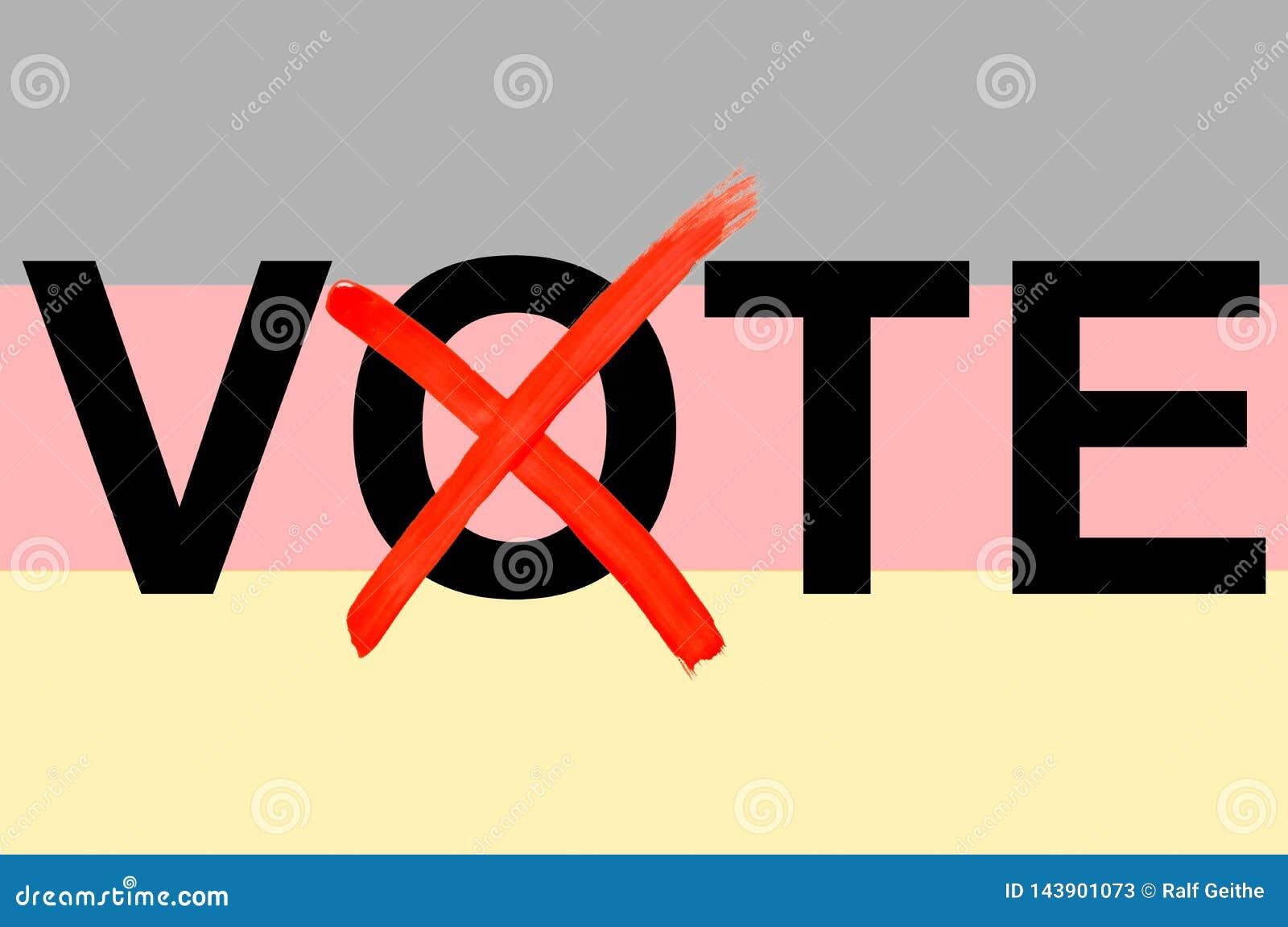 Illustrationen av ordet röstar med den tyska flaggan i bakgrunden som ett symbol av tyska politiska val i tolkningen 3D