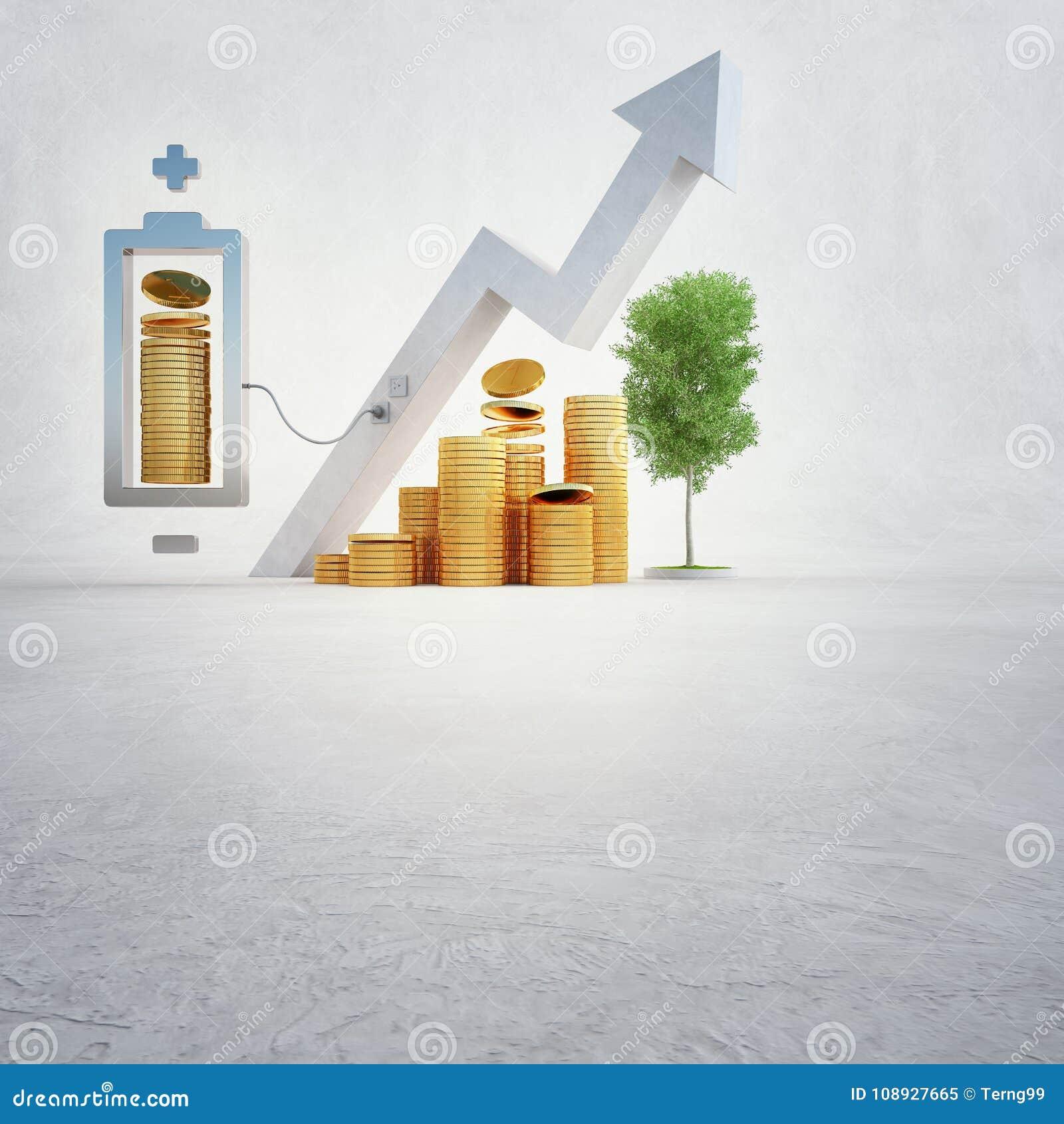 Illustrationen 3d av guld- mynt med batteriet och den finansiella grafen på den vita kopian gör mellanslag bakgrund