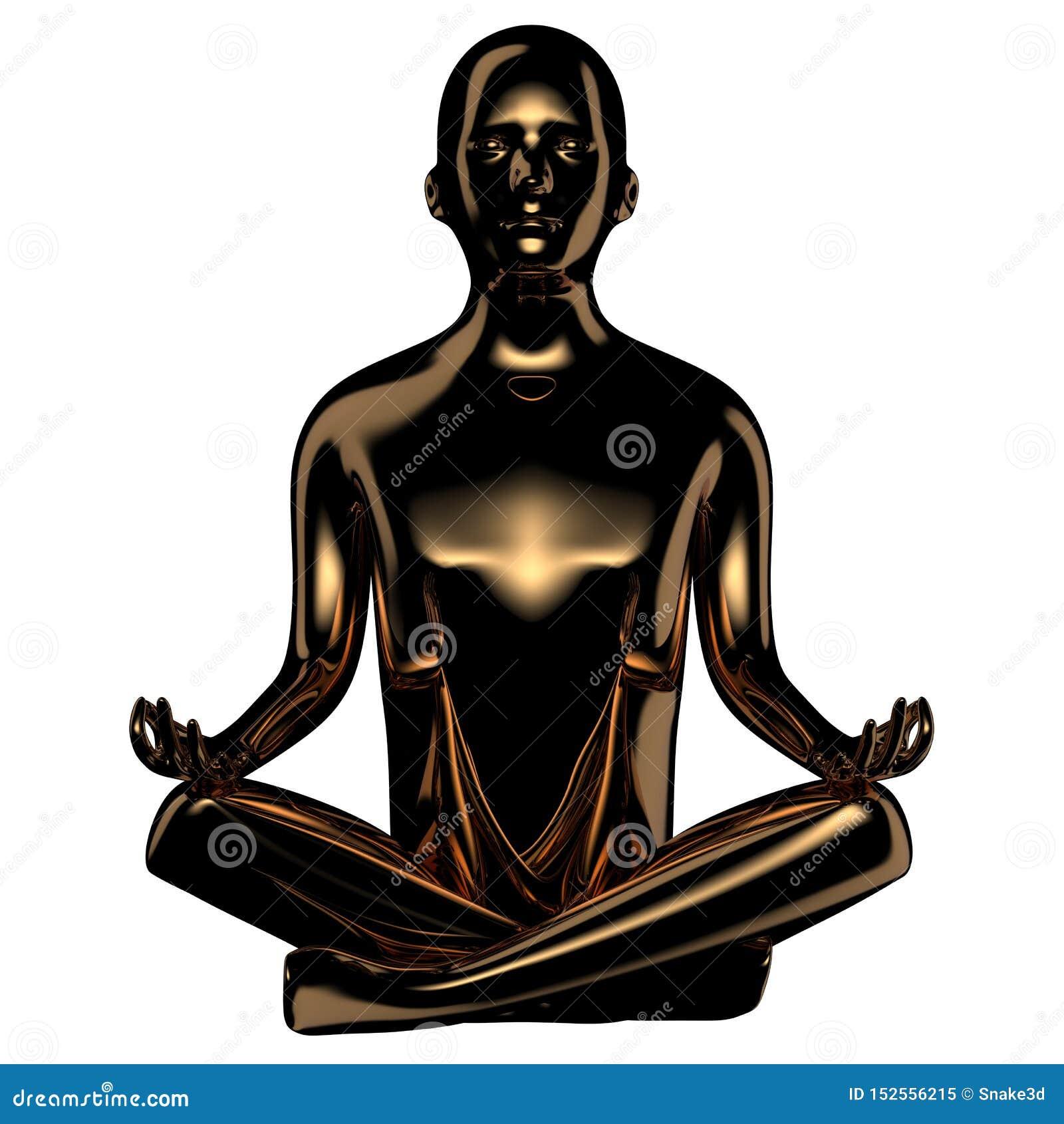 Illustrationen 3d av lugna yogamanlotusblomma poserar det guld- stiliserade diagramet