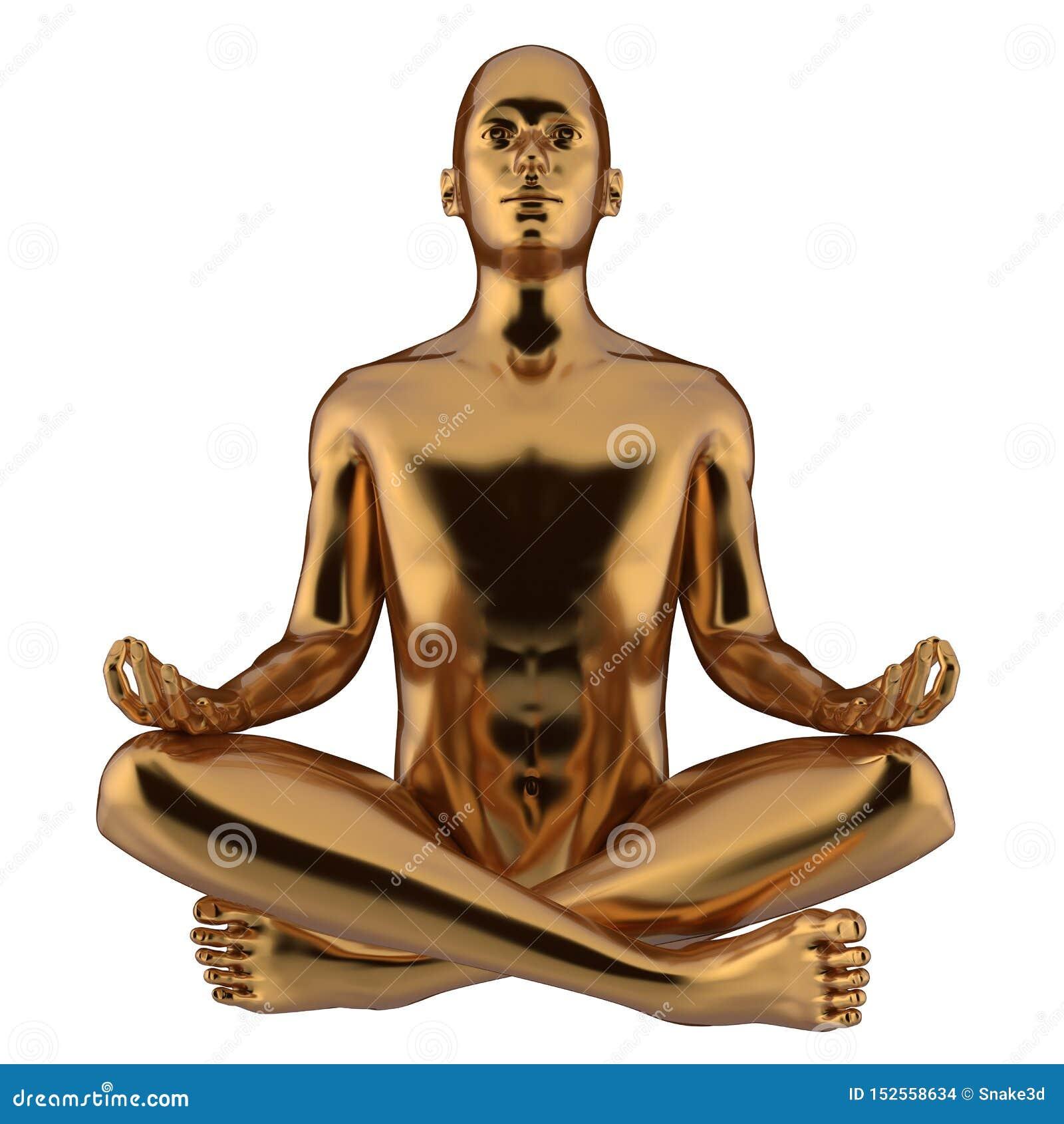 Illustrationen 3d av positionen för lotusblomma för yoga för järnstatymannen stiliserade guld-