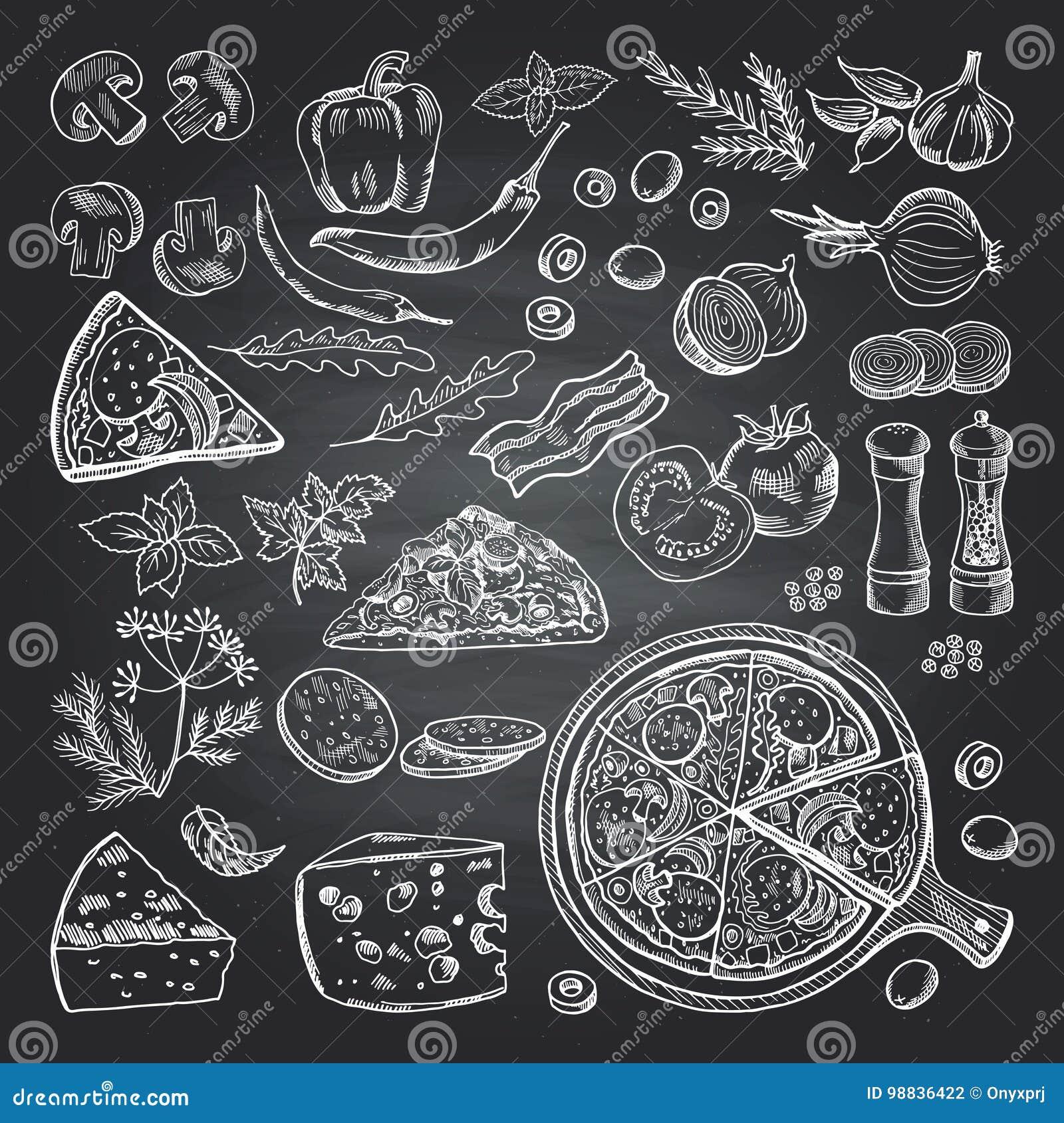 Tafelwand Küche | Illustrationen Von Pizzabestandteilen Auf Schwarzer Tafel Bilder