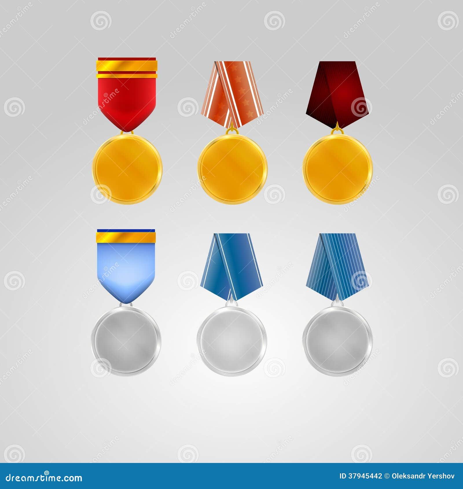 Illustrationer av medaljer