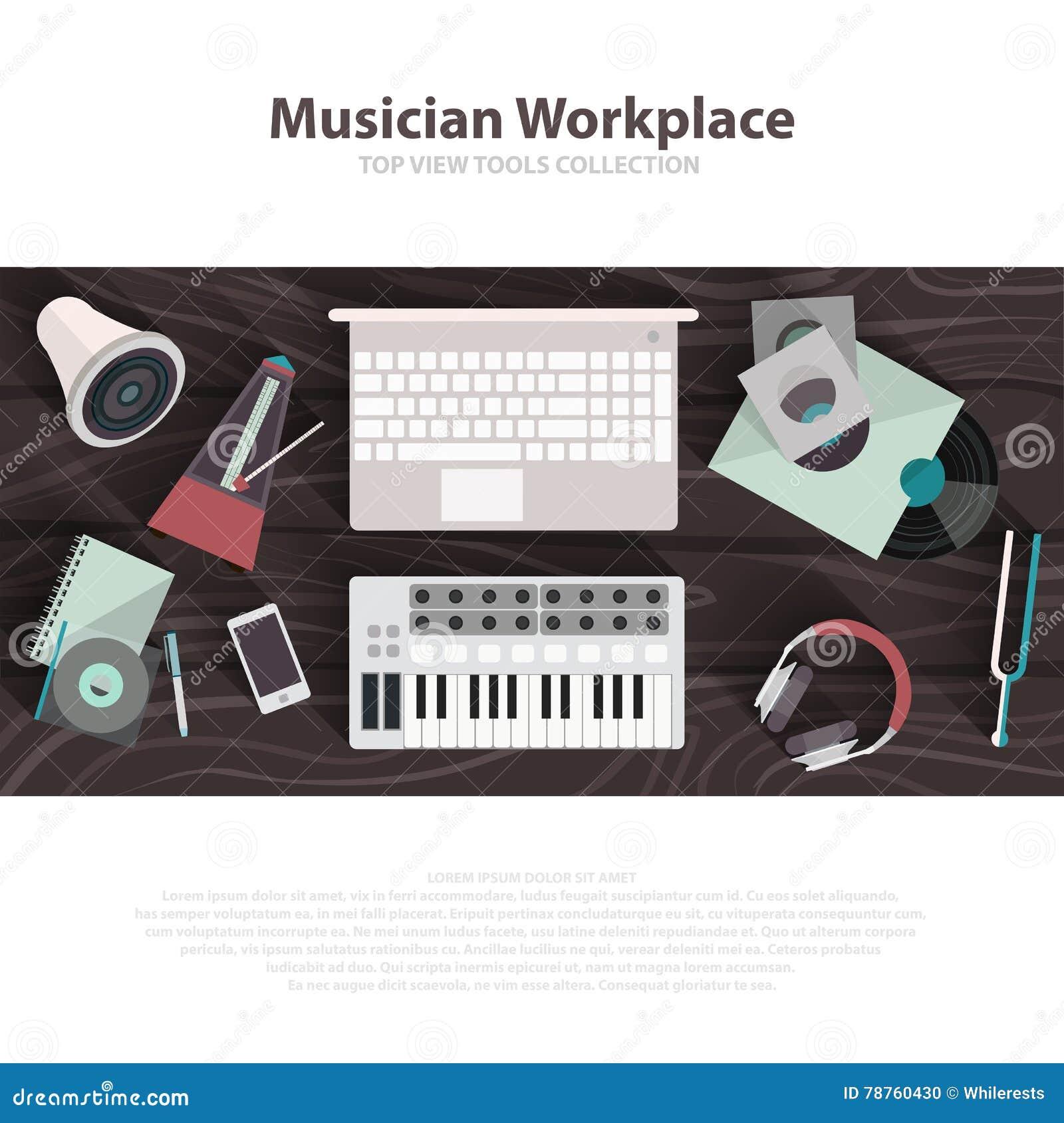 Illustrationer för lägenhet för musikerworkspacevektor Funktionsdugligt kabinett för musiker med Digital Equipment Solitt konstbe