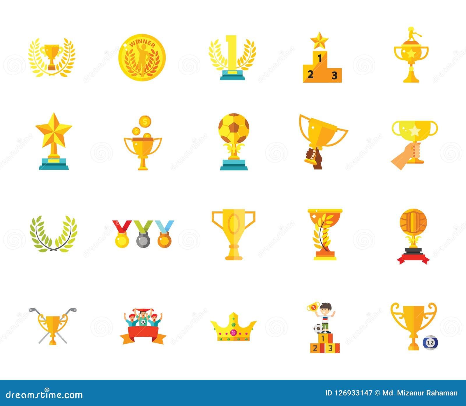 Illustrationer för vektor för uppsättning för symbol för mästare för framgång för vinnare för stjärna för emblem för troféutmärke