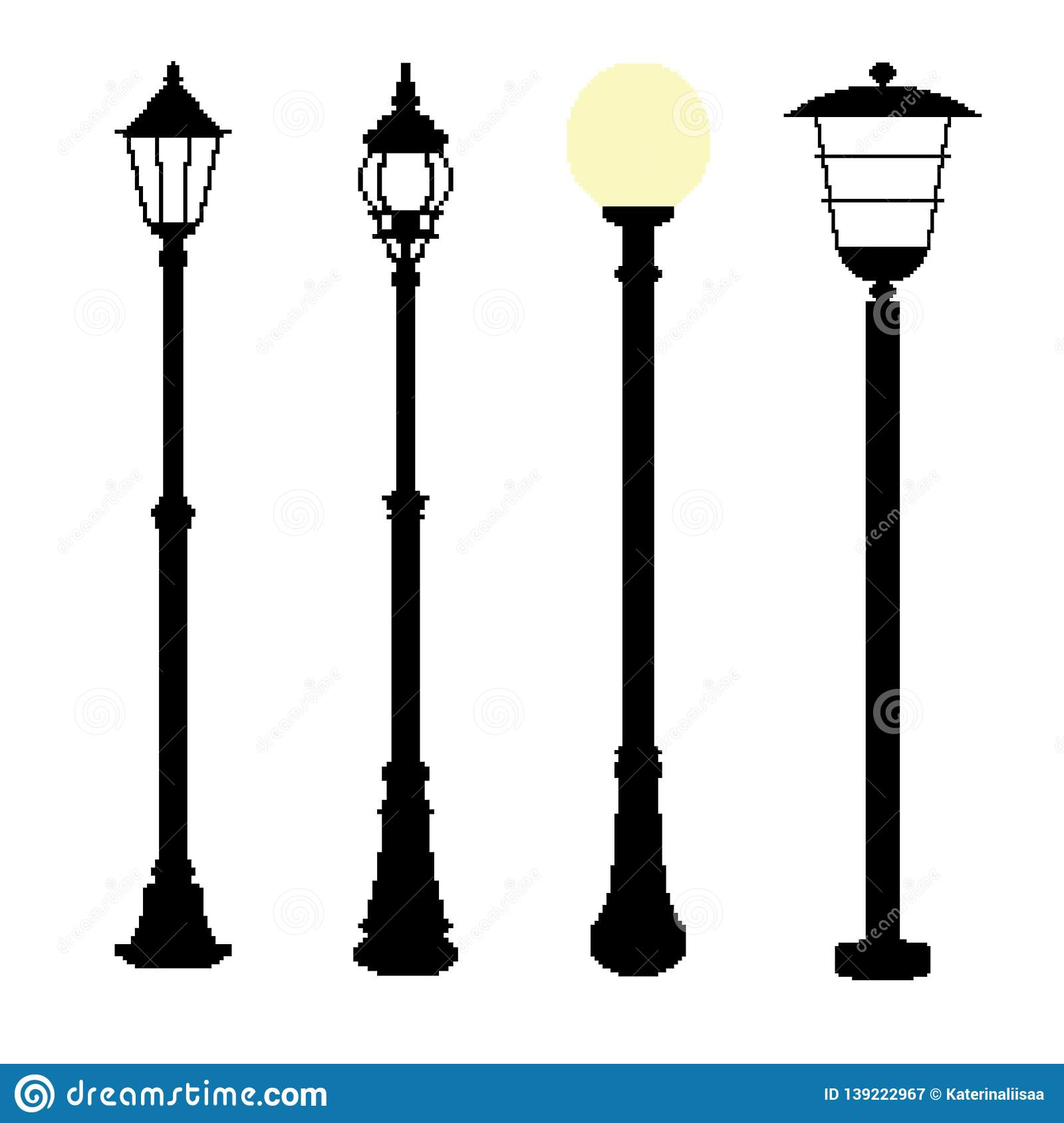 Illustrations collection of pixel streetlights.