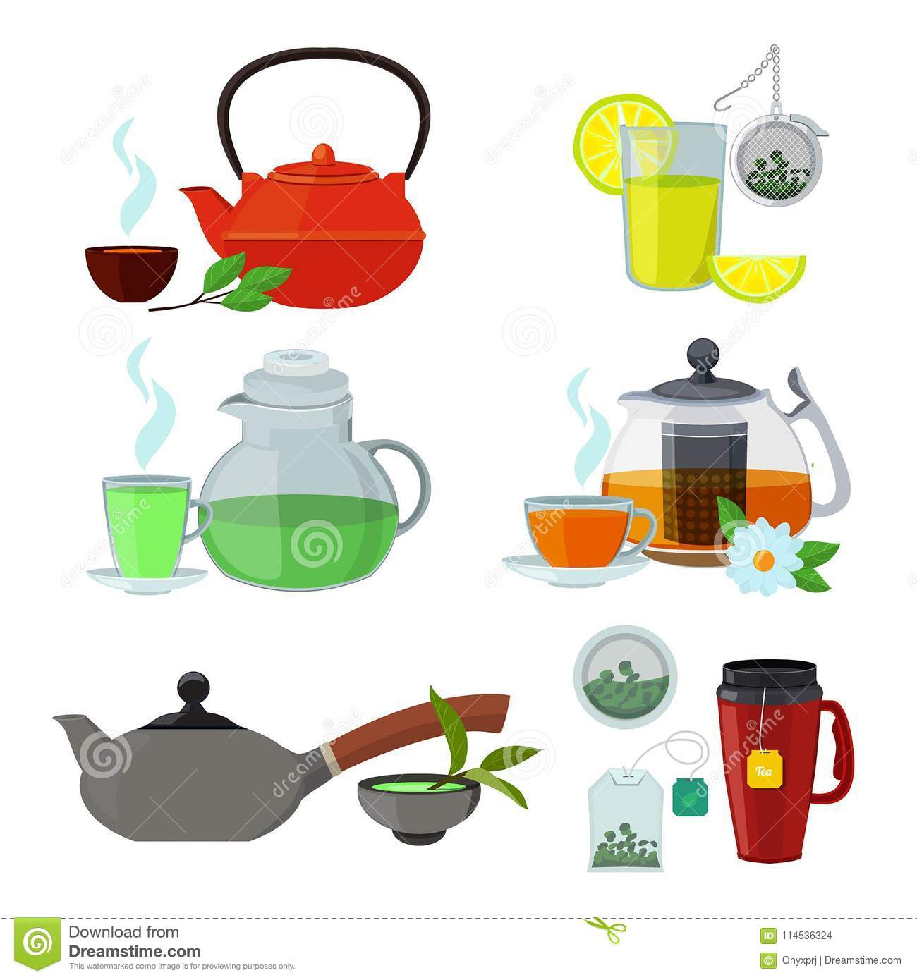 Illustrations Of Cups And Kettles For Different Types Of Tea Stock