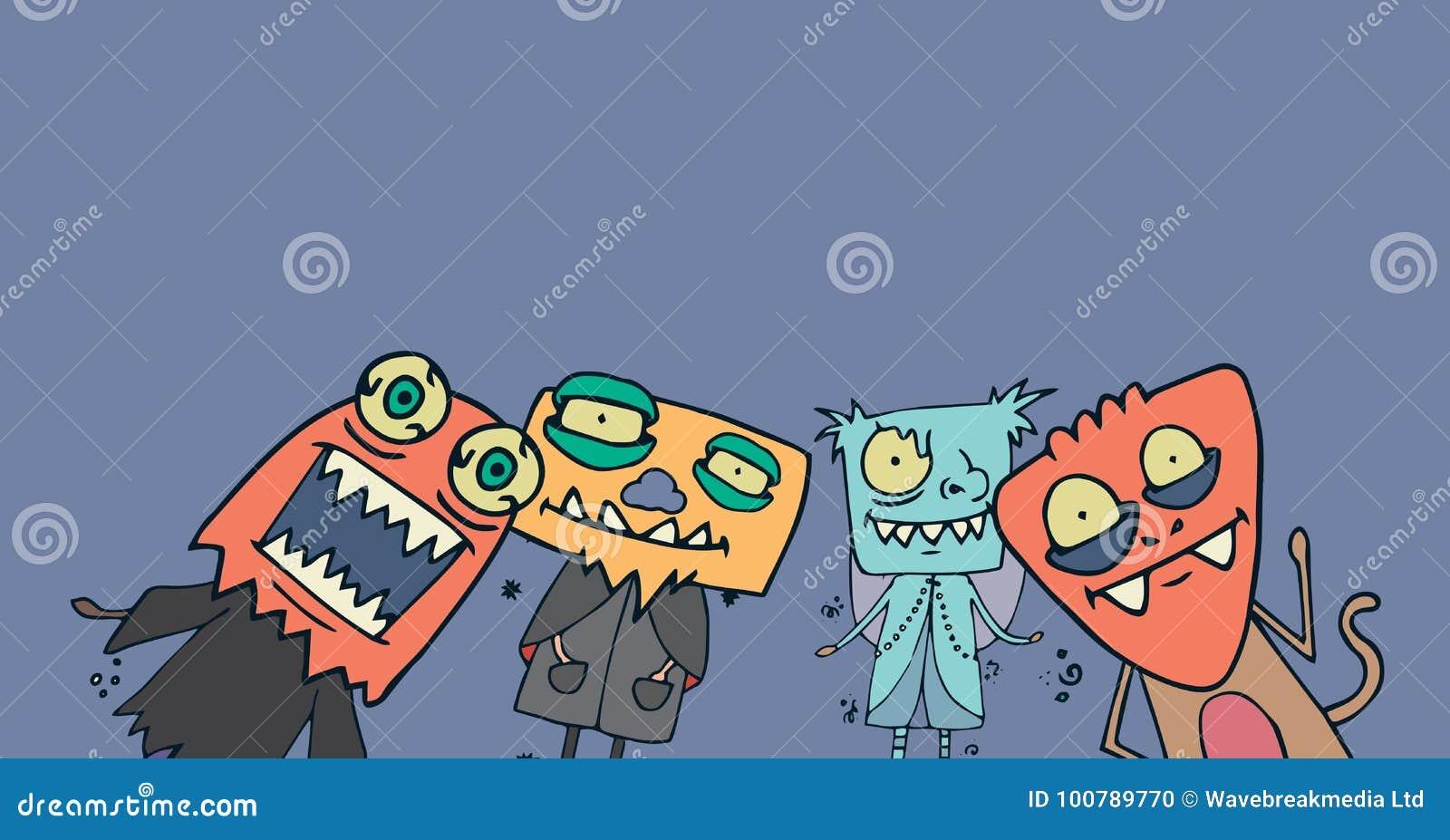 Illustrations de monstre dans des costumes de Halloween