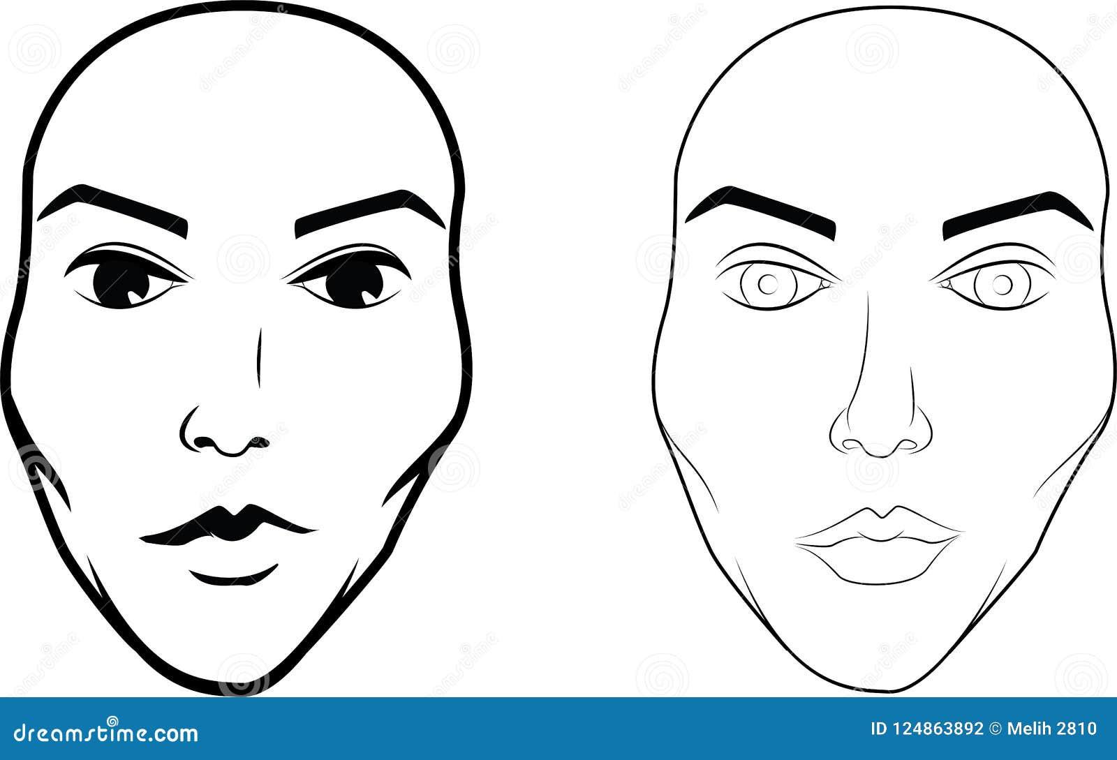Illustrations dessinées et marquées au poncif de beau de femme visage du ` s