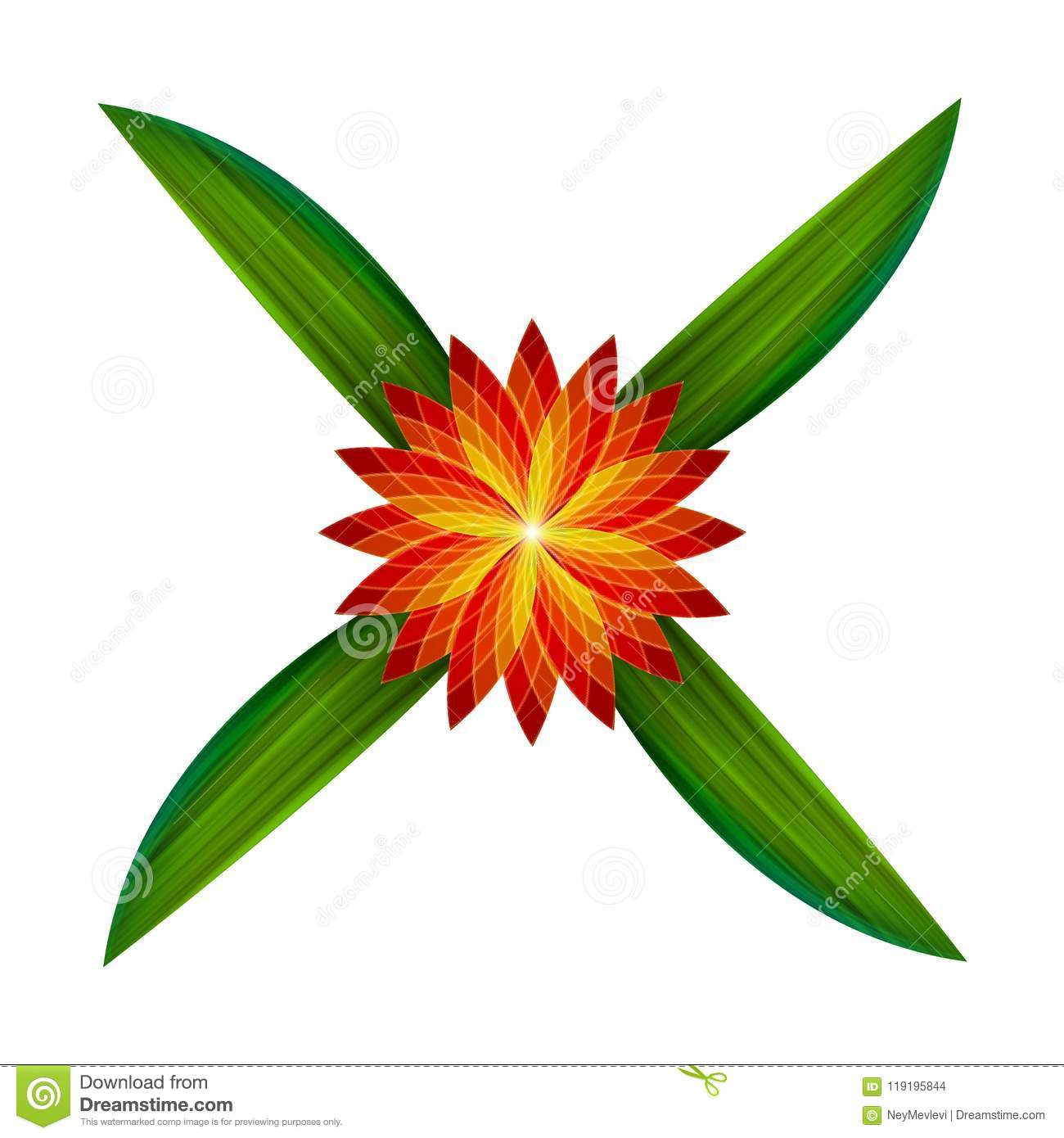 Mirroring Flower And 4 Leaves Green Color Stock Vector ...
