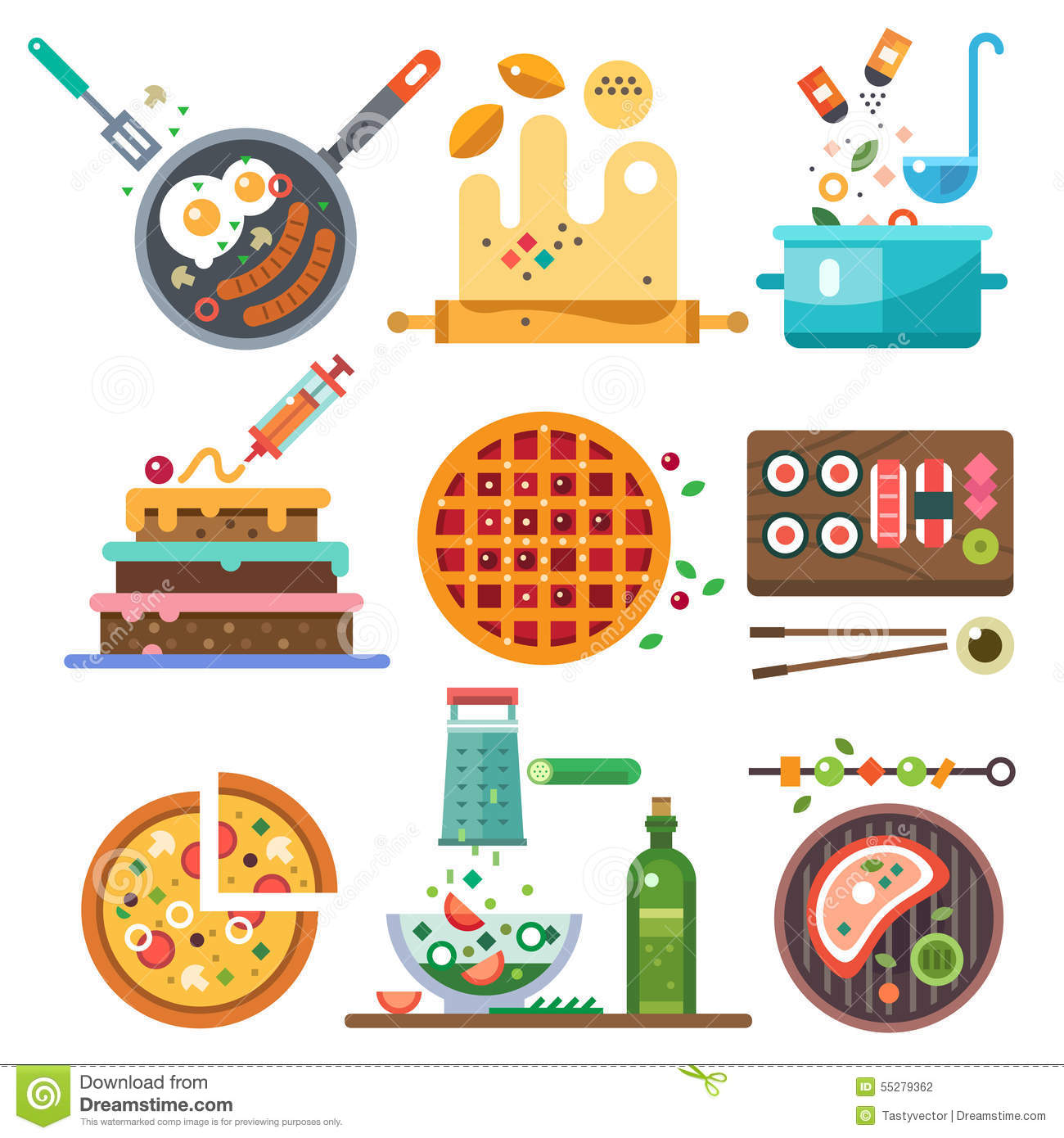 Illustrations Of Food In The Cooking Process Stock Vector