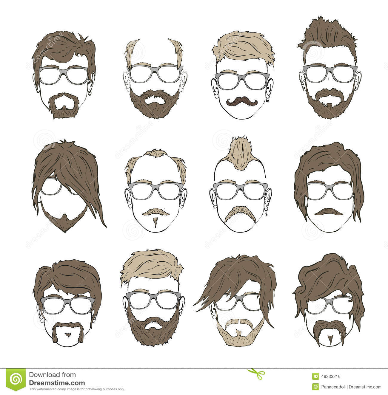Illustrations Hairstyles With A Beard And Mustache Stock