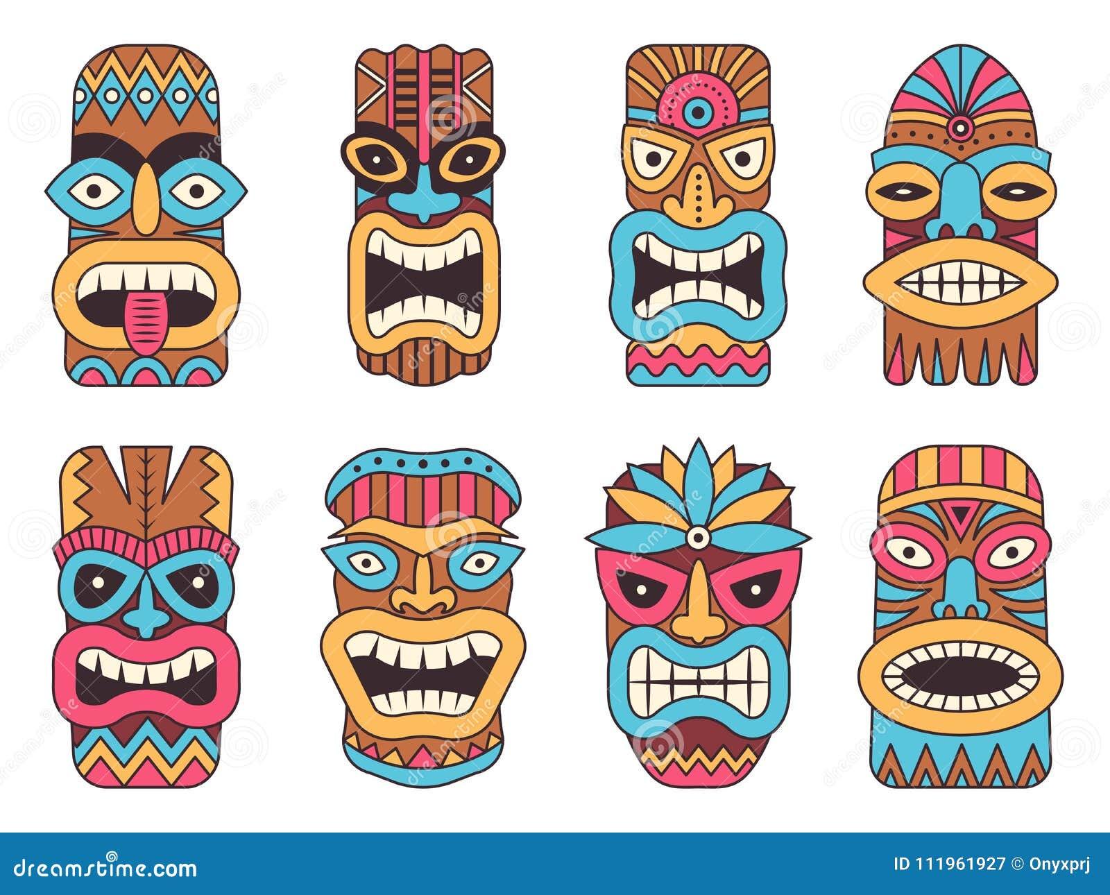 Illustrations Of Hawaiian Tiki God Tribal Totem Stock