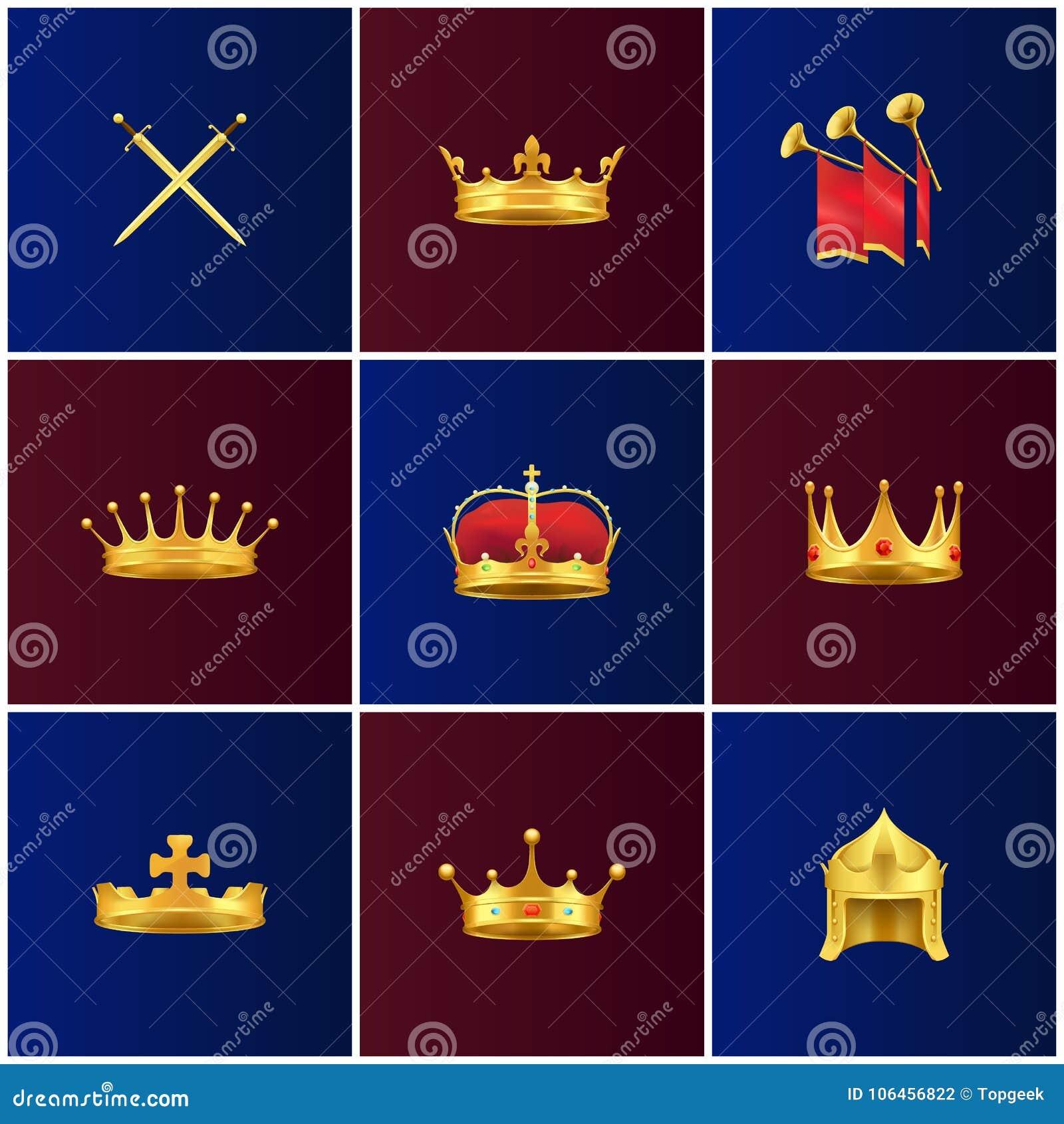 Illustrations médiévales d attributs d or royal réglées
