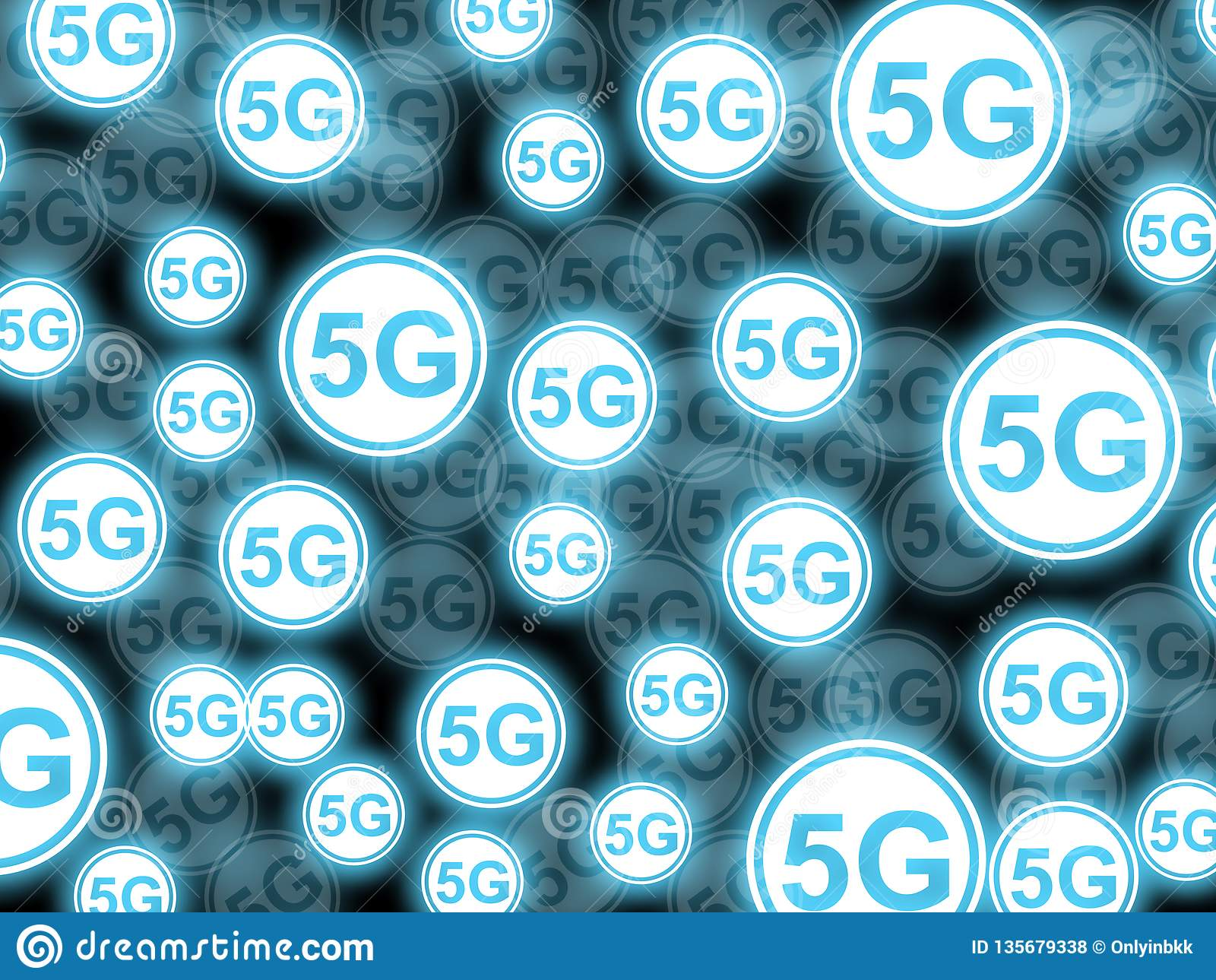 Illustrations-Mehrfachbelichtungshintergrund der Ikonen 5G
