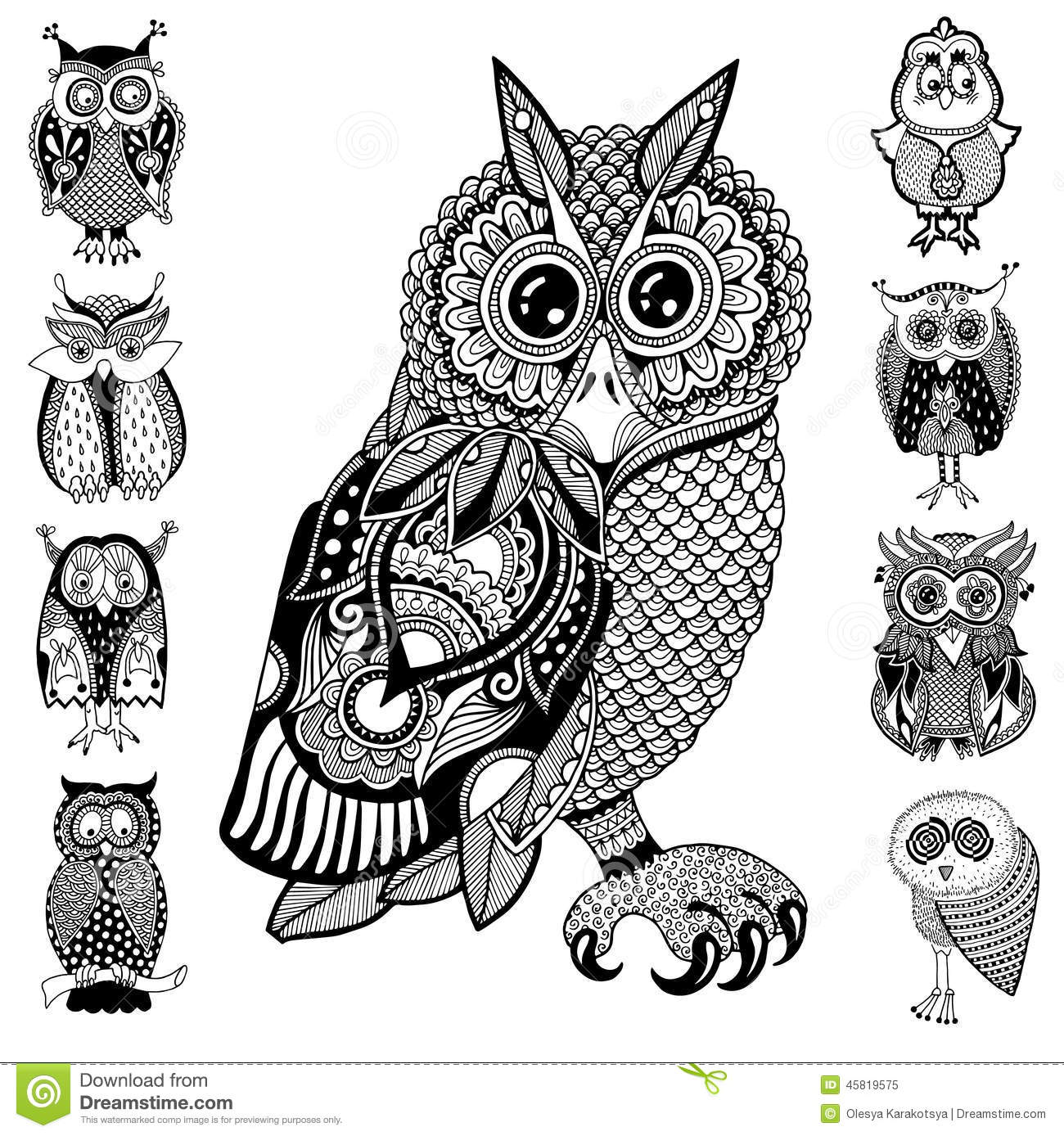 Illustrations originales de hibou dessin de main d 39 encre - Dessins hibou ...