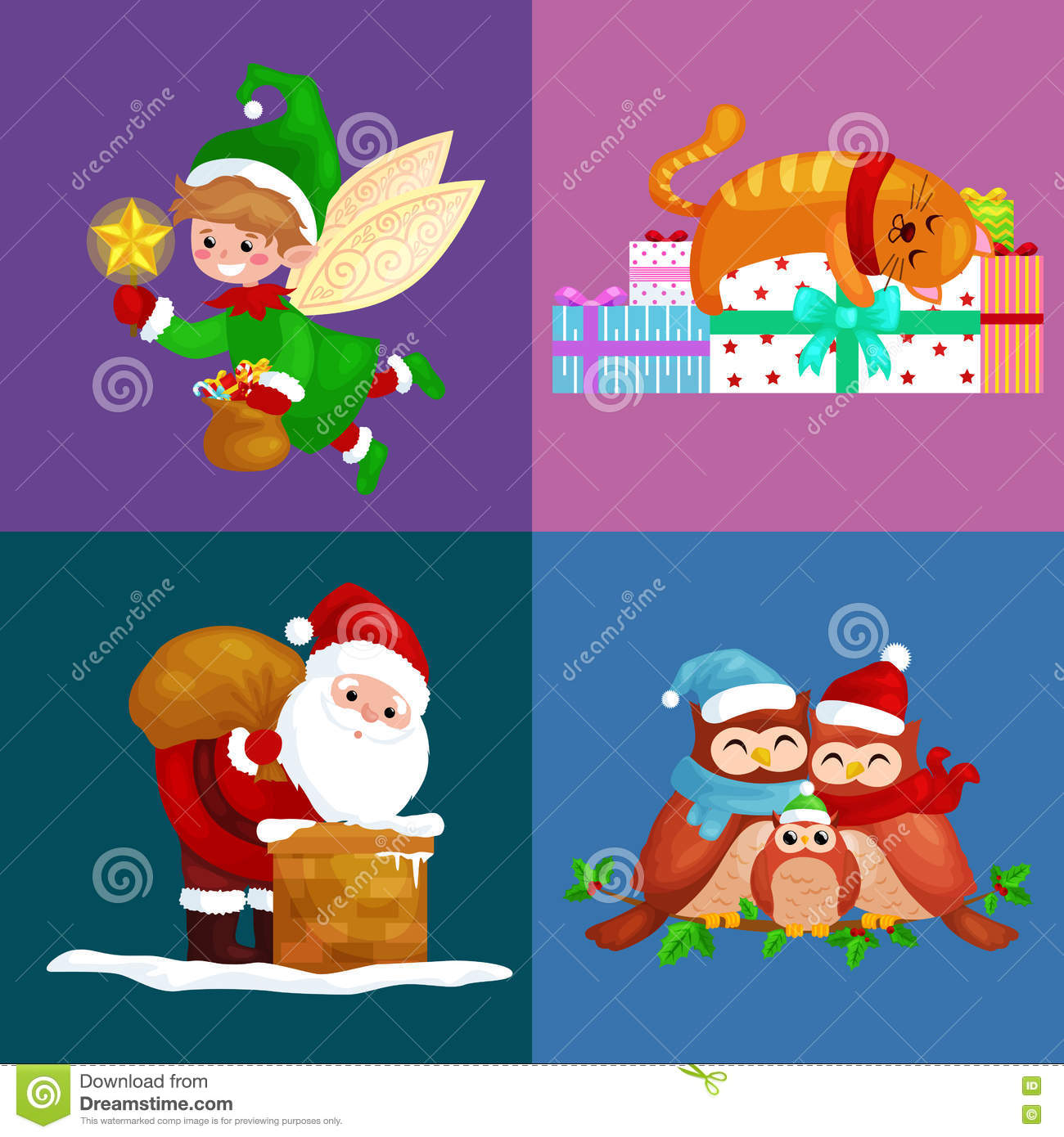 Illustrations Set Merry Christmas Happy New Year, Girl Sing ...