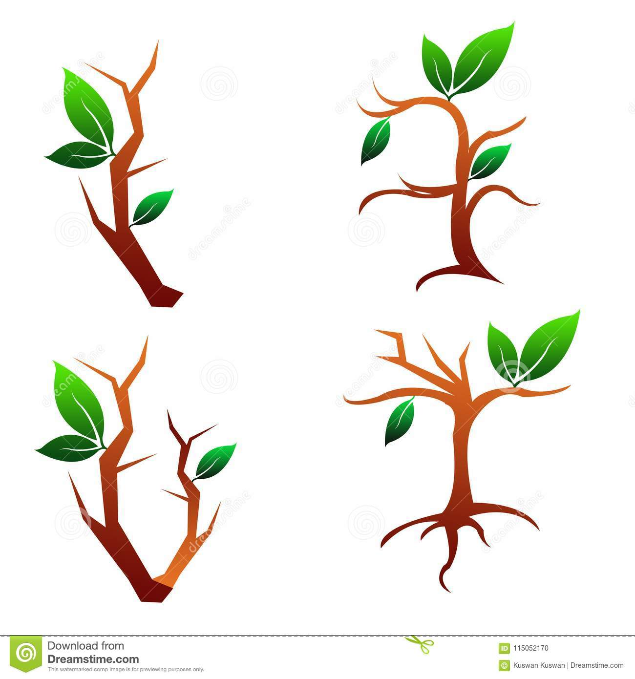 Illustration Four Tree and Leaves