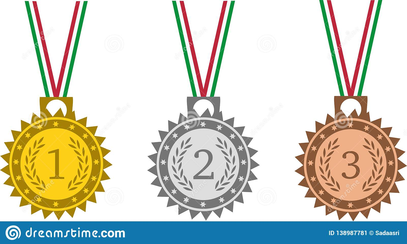 Medals set with tricolor ribbon on white background