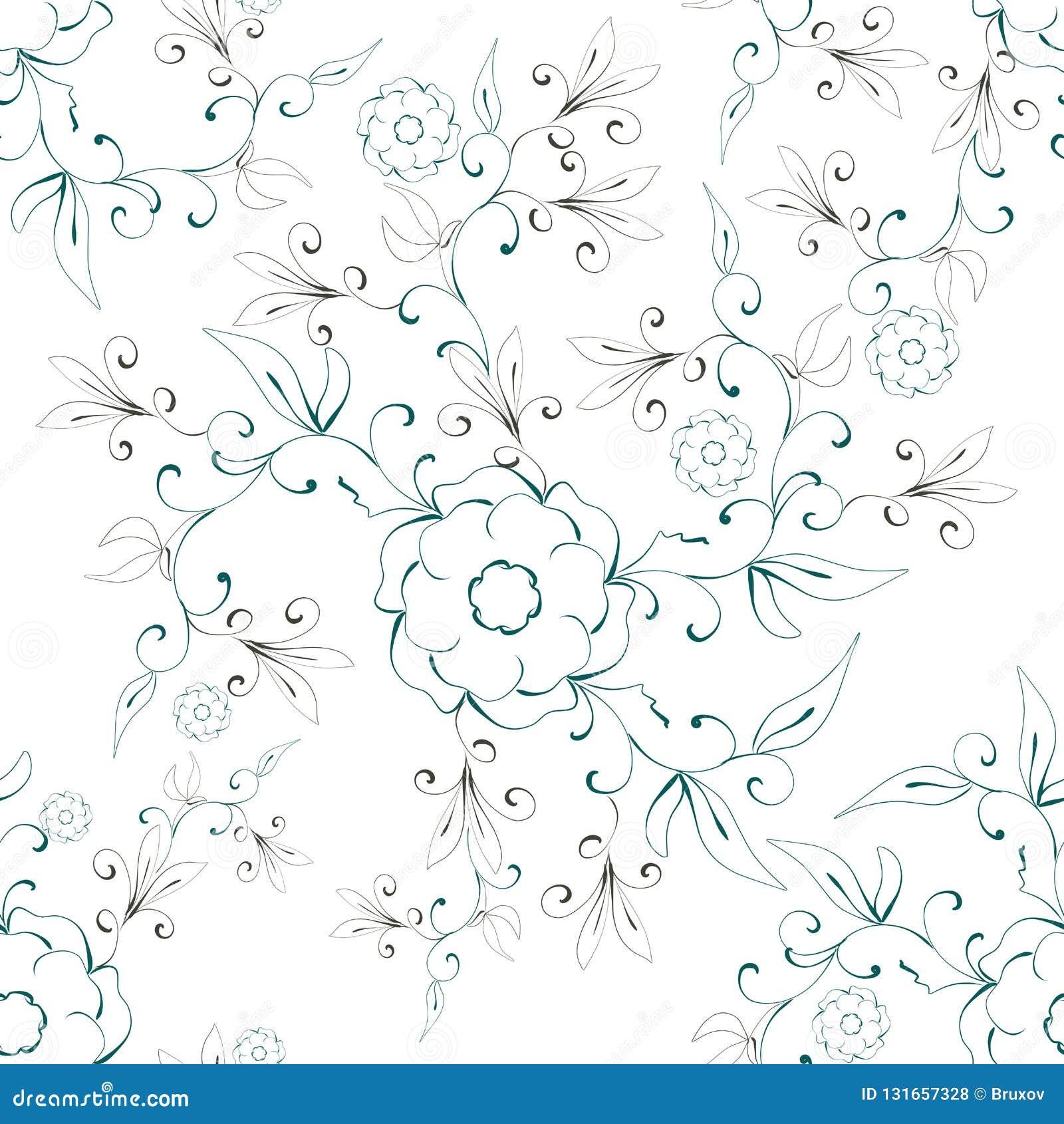 Illustrations-Zusammenfassungs-nahtloses mit Blumenmuster auf einem weißen Hintergrund