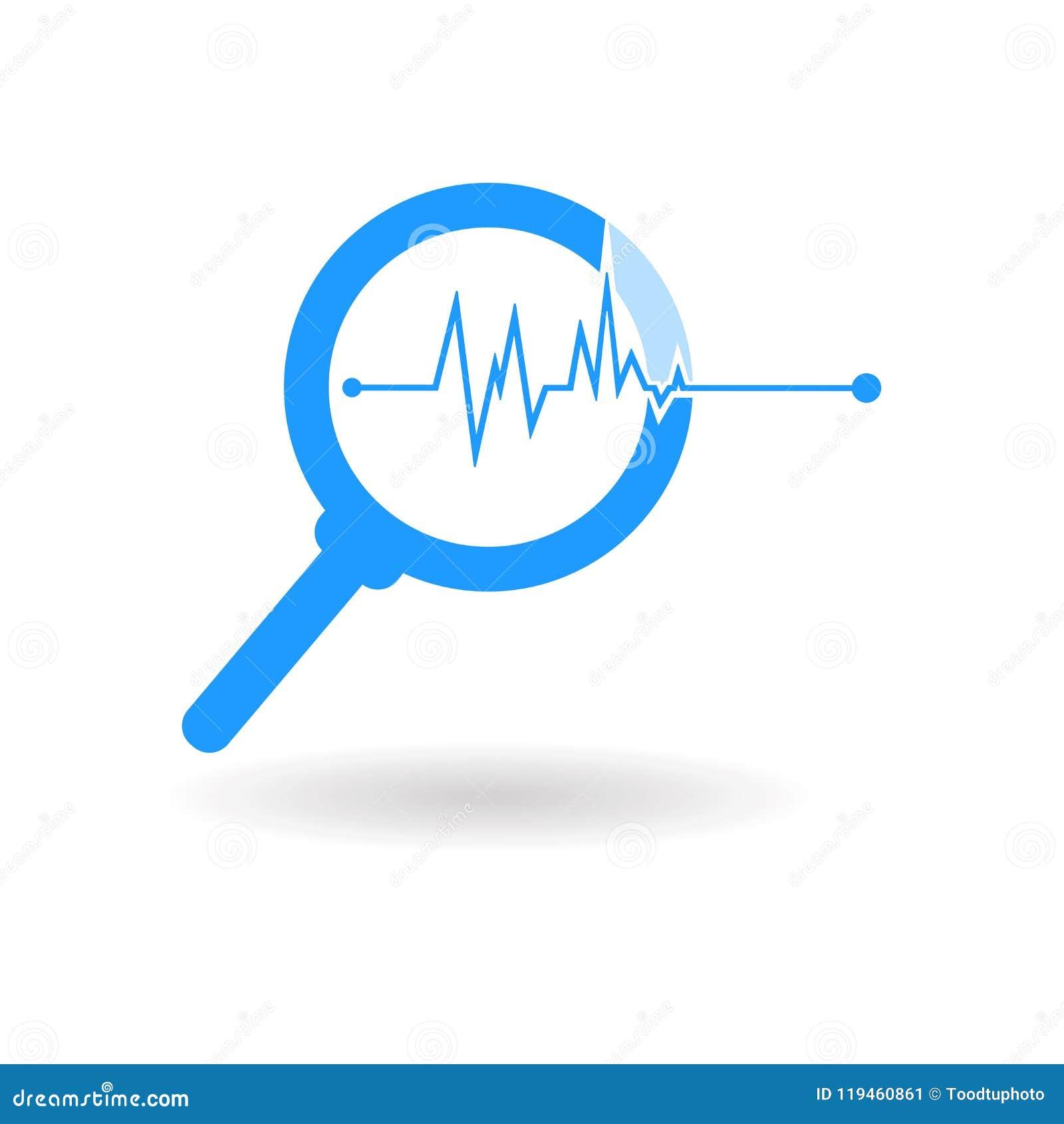 Illustrationsschattenbild, blaue Ikone der Lupe lokalisiert auf weißem Hintergrund