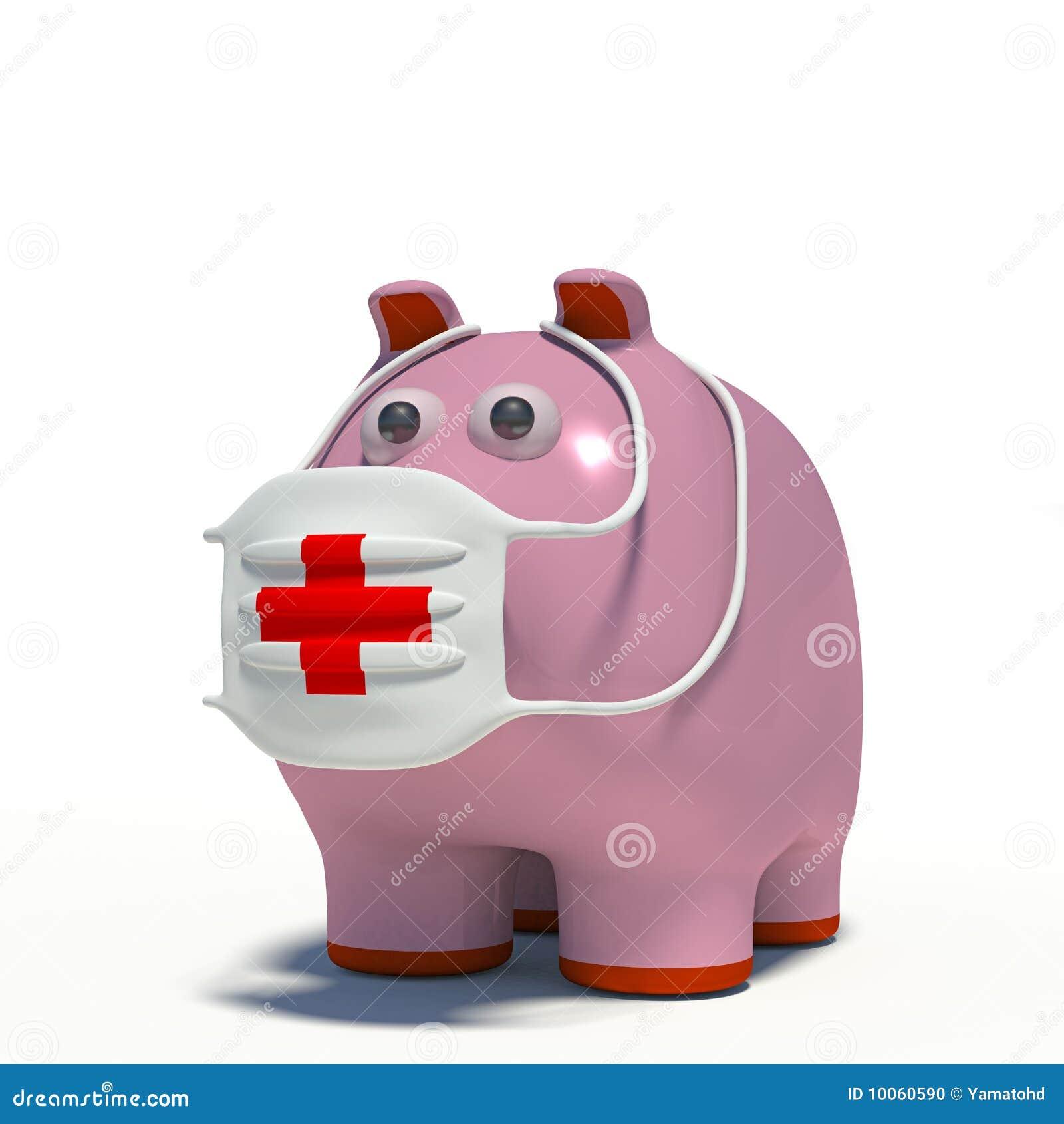 Illustraton de um porco em uma máscara do ar