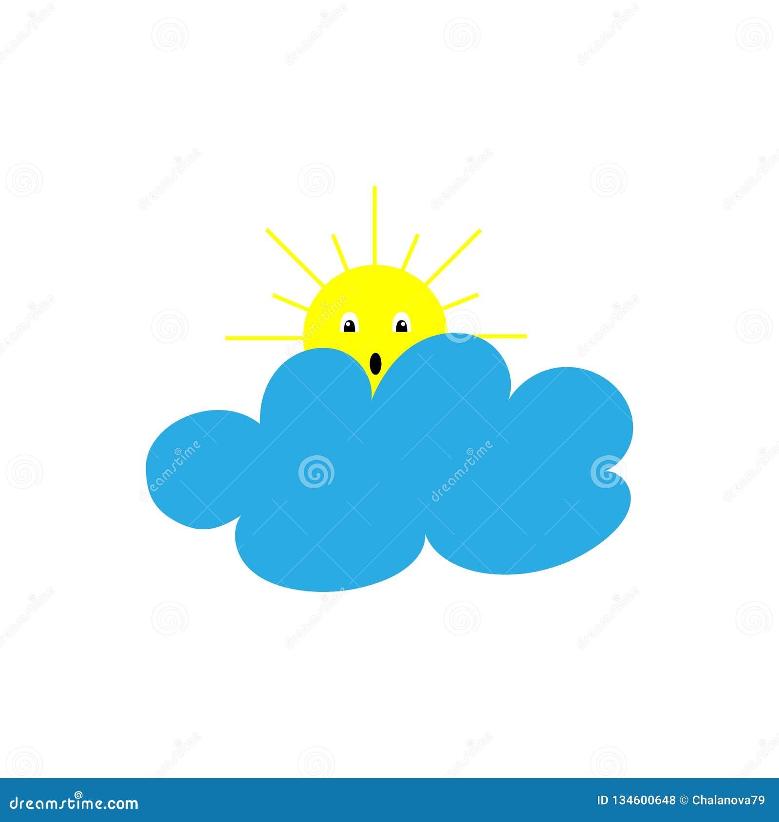 Illustraton di vettore Sole giallo con il fronte e gli occhi sotto la nuvola Icona di estate