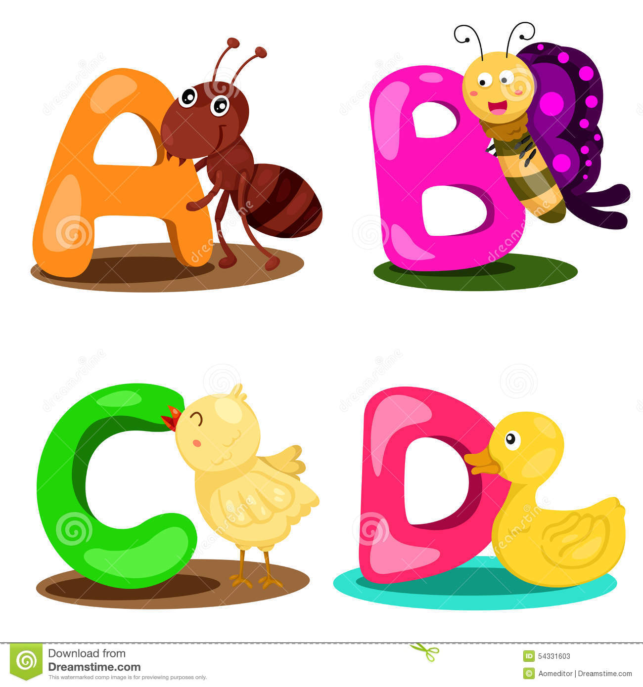 illustrator alphabet animal letter abcd stock vector