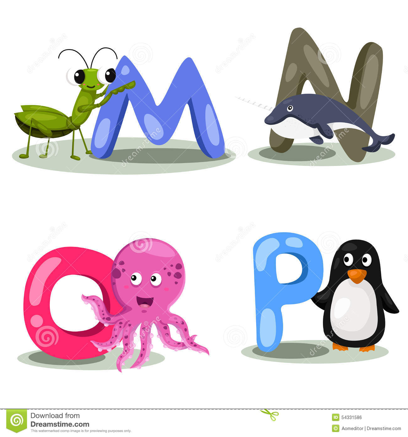 Image of: Funny Cartoon Illustrator Alphabet Animal Letter Mnop Cute And Education Dreamstimecom Illustrator Alphabet Animal Letter Mnop Stock Vector