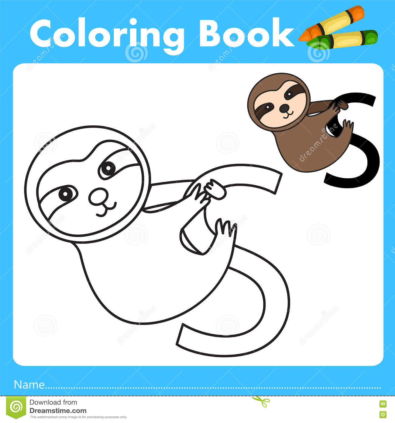 Book color illustrator - Illustrator Of Color Book With Sloth Animal