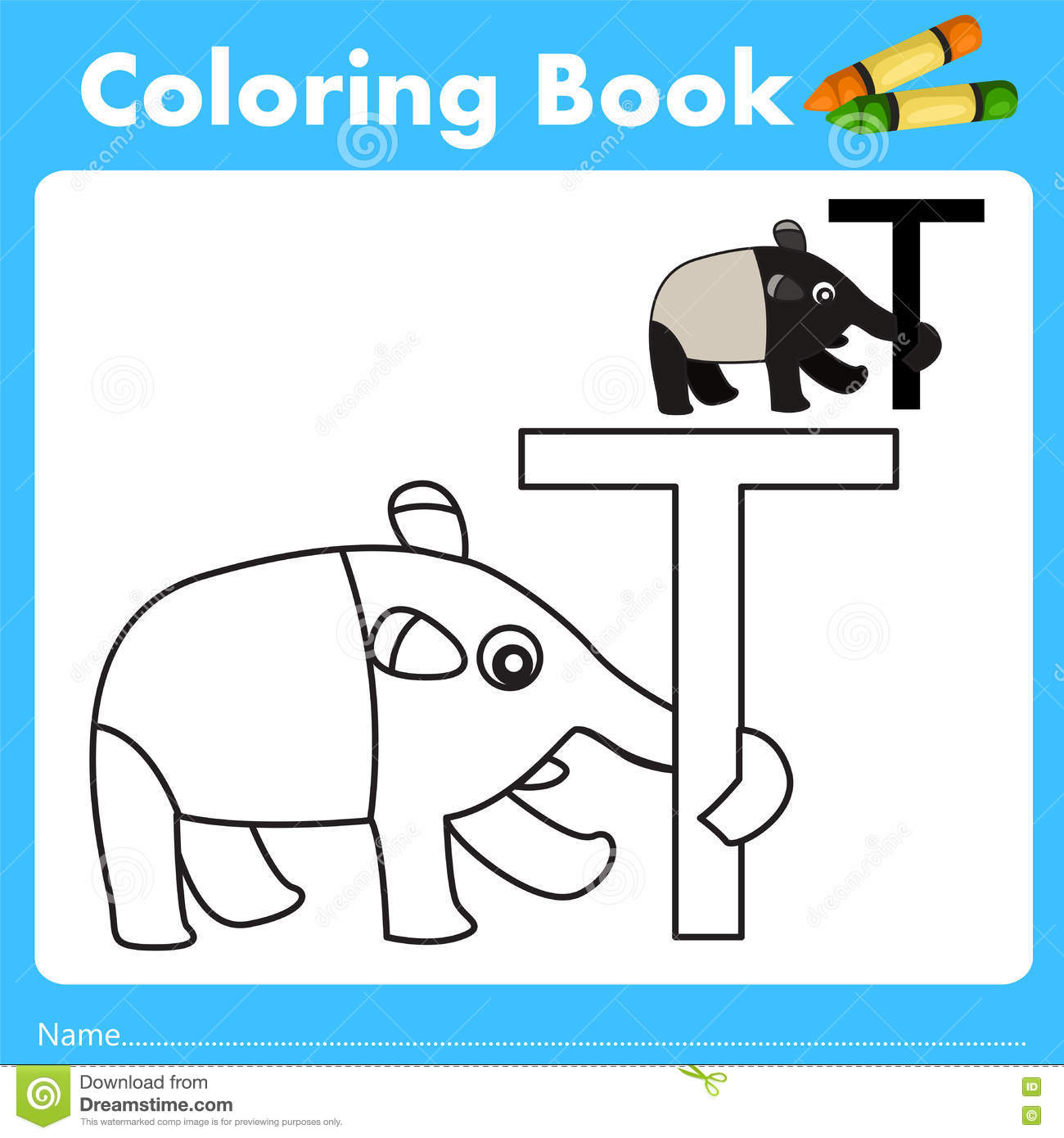 Book color illustrator - Illustrator Of Color Book With Tapir Animal Stock Vector