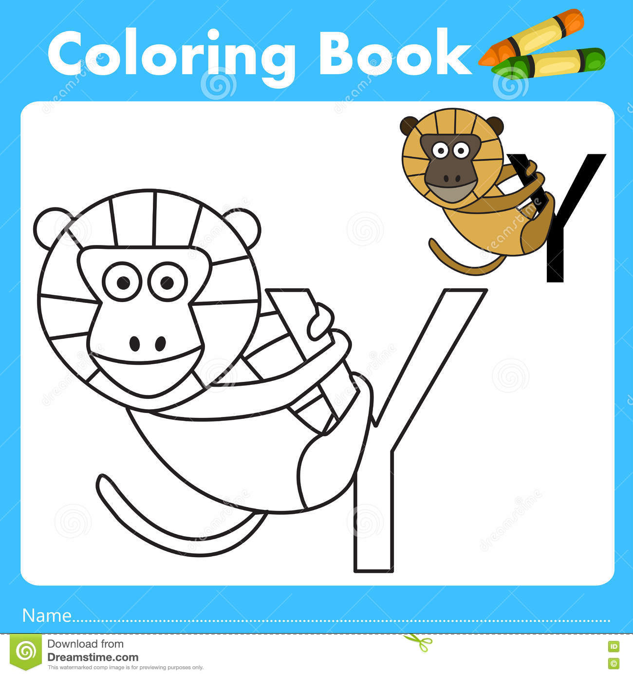 Book color illustrator - Illustrator Of Color Book With Yellow Baboon Animal
