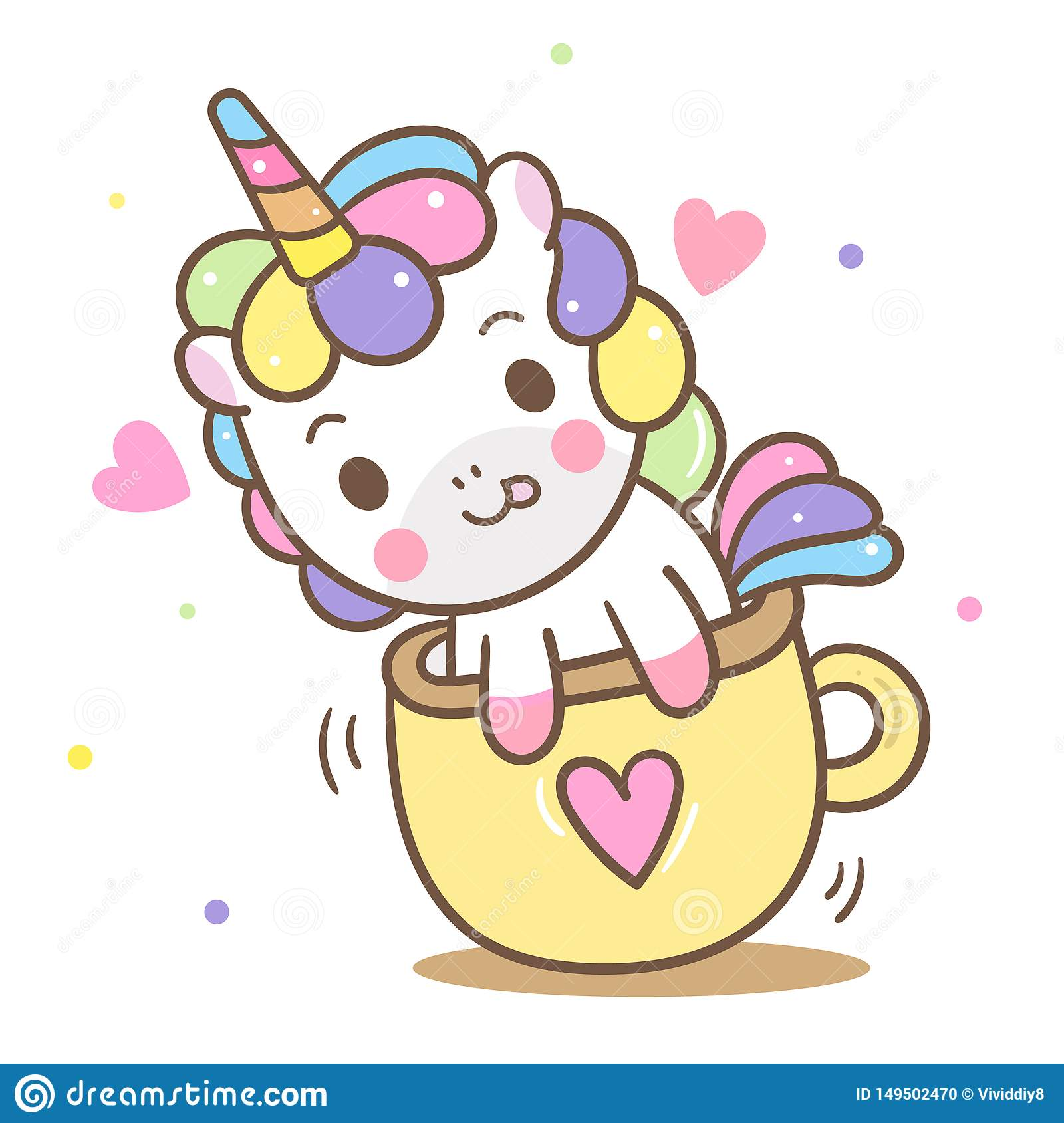 Illustrator Of Cute Unicorn Vector In Mini Cup Kawaii Pony